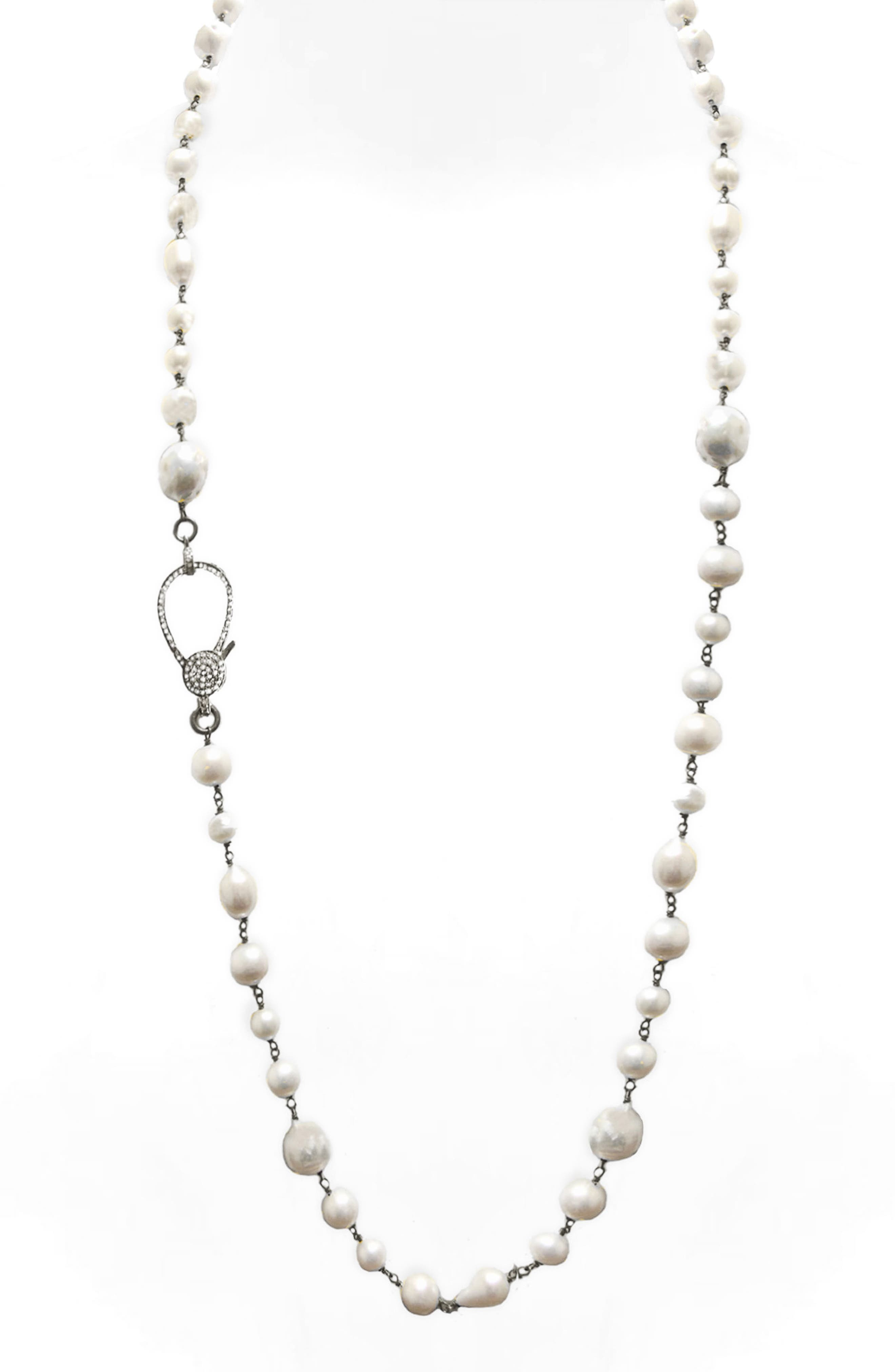 Jane Basch Long Pearl & Diamond Necklace,                             Alternate thumbnail 2, color,                             Pearl/ Silver