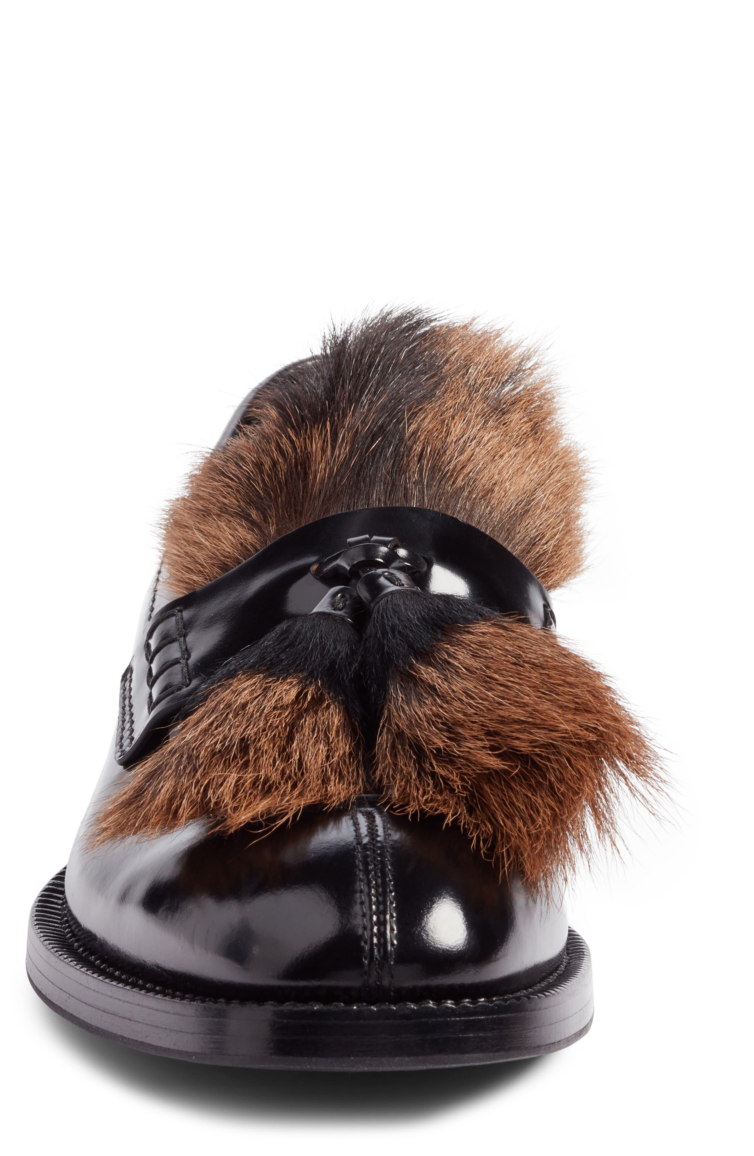 Alternate Image 4  - Prada Tassel Loafer with Genuine Goat Hair Trim (Men)