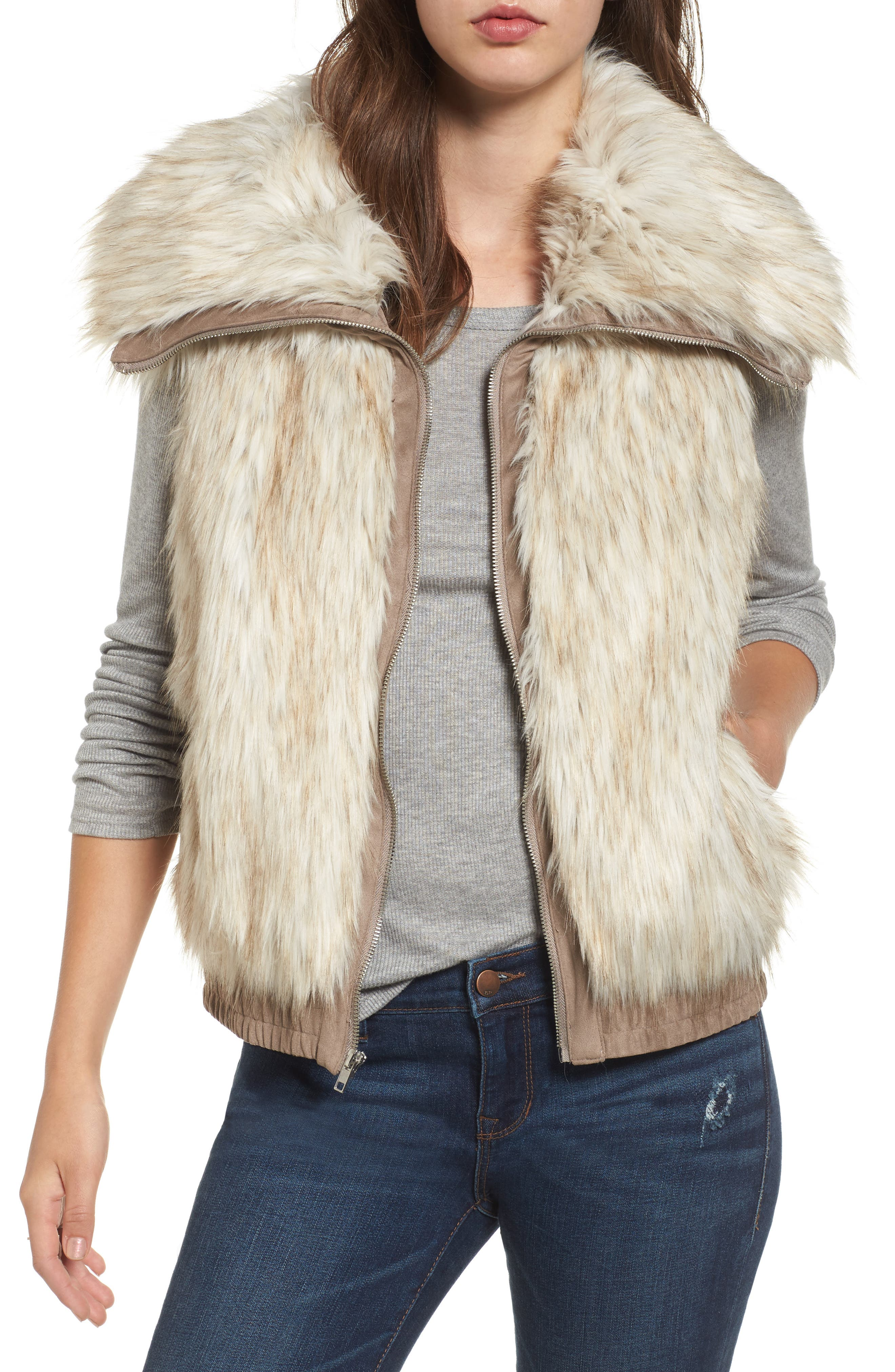 Collared Faux Fur Vest,                         Main,                         color, Dirty White