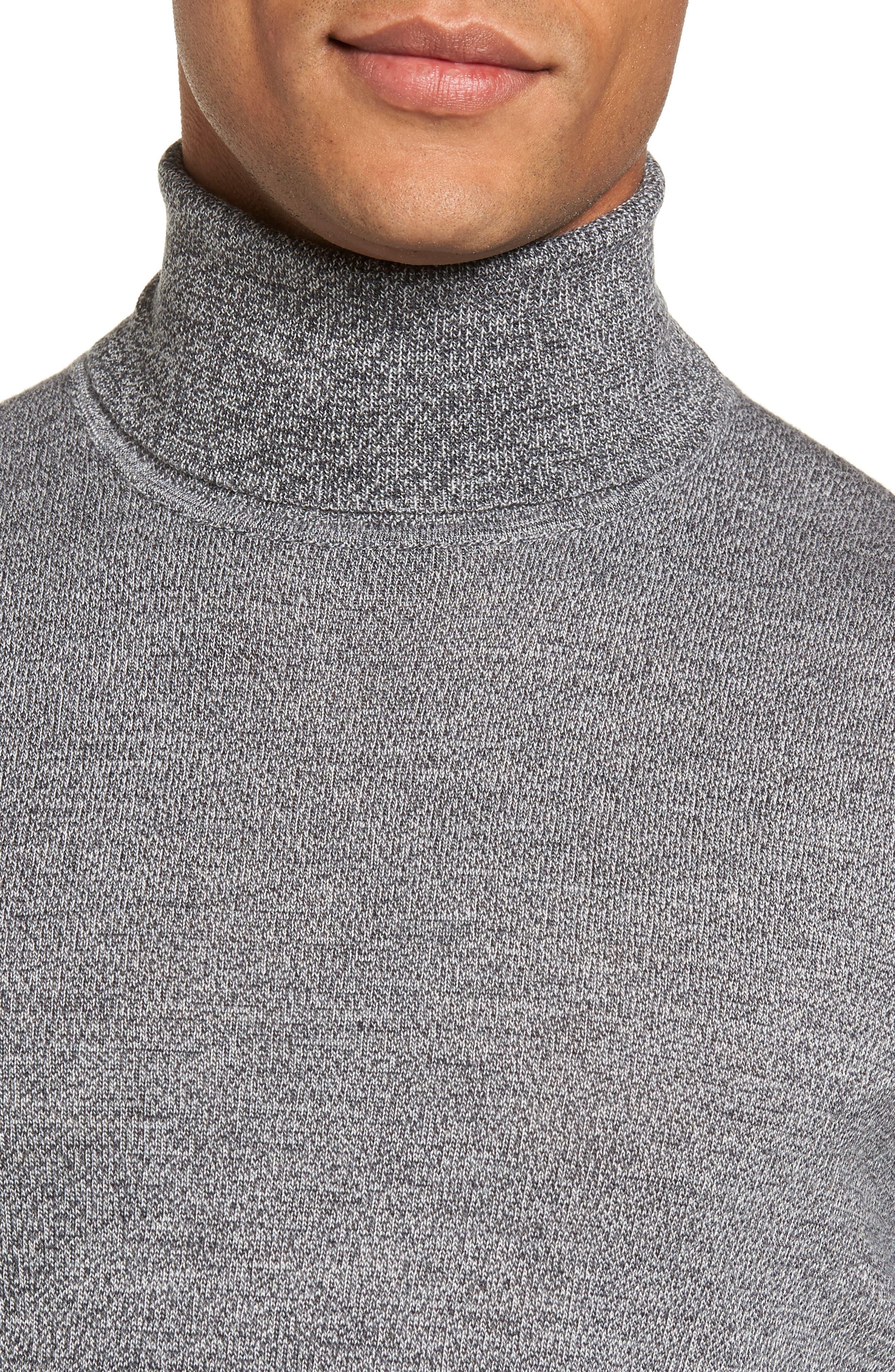 Merino Wool Turtleneck Sweater,                             Alternate thumbnail 4, color,                             Grey Shade Marl