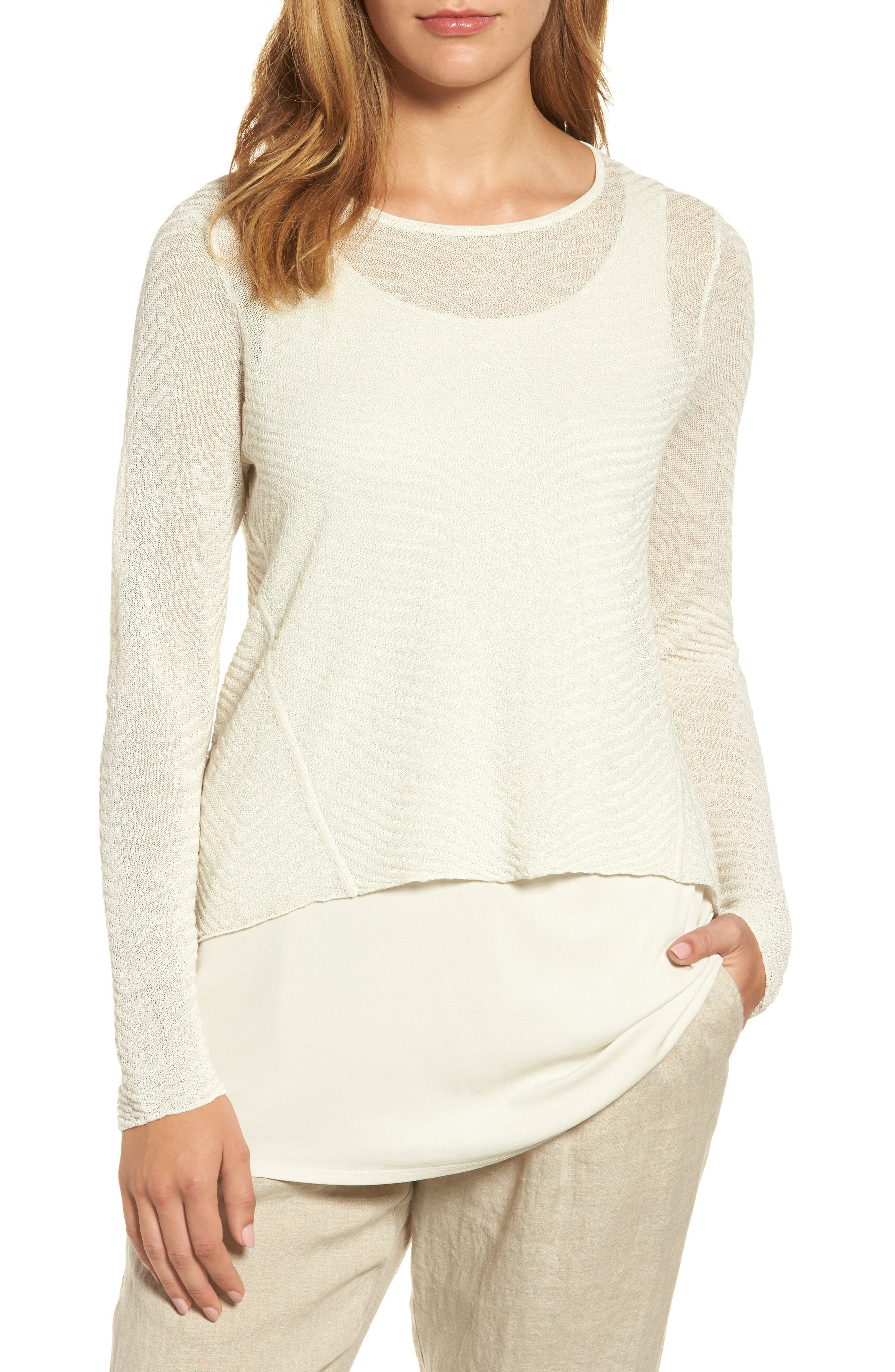 Eileen Fisher Hemp Blend Crop High/Low Sweater (Regular & Petite)