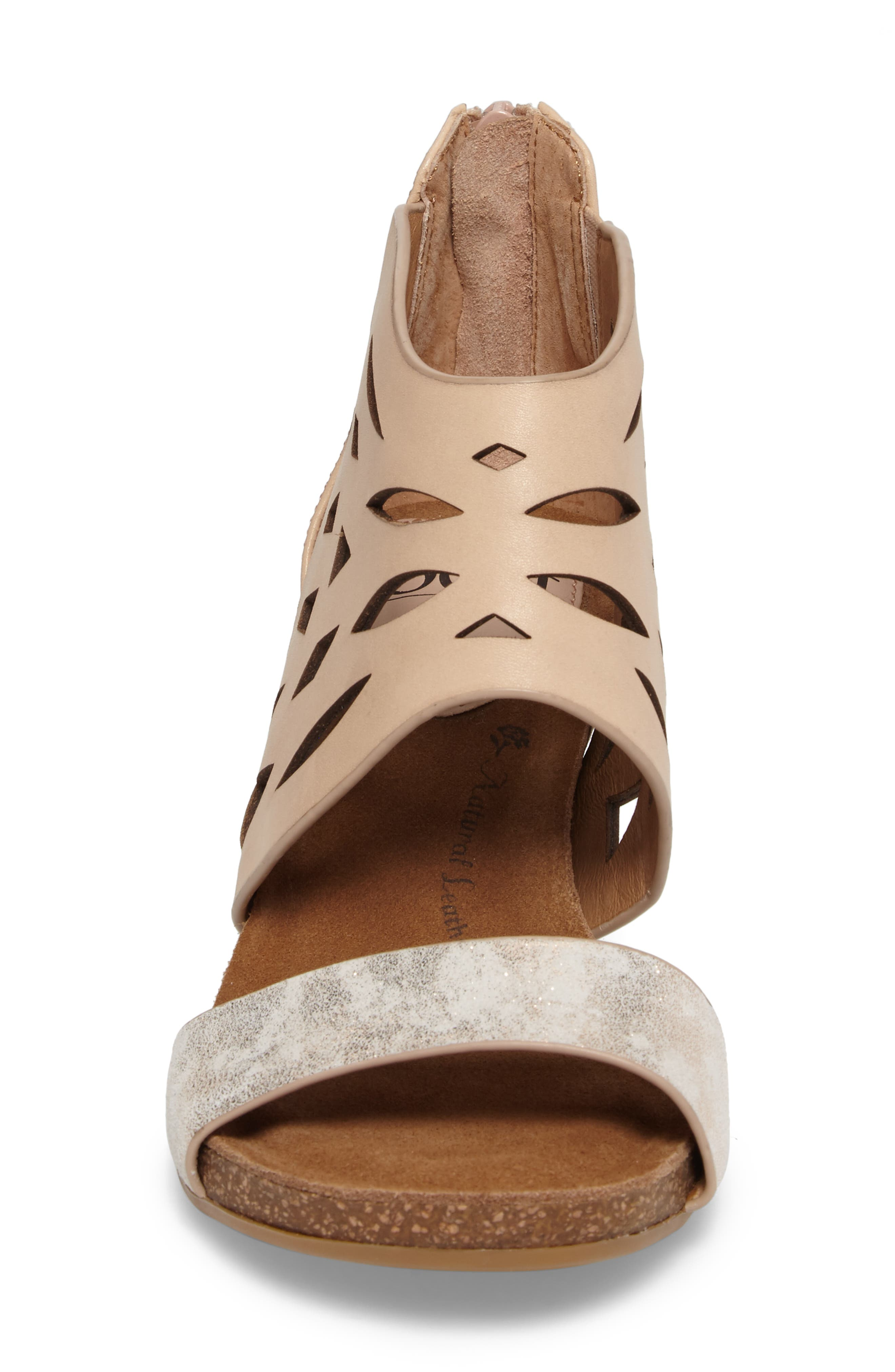 Mystic Perforated Wedge Sandal,                             Alternate thumbnail 4, color,                             Blush/ Ivory Leather