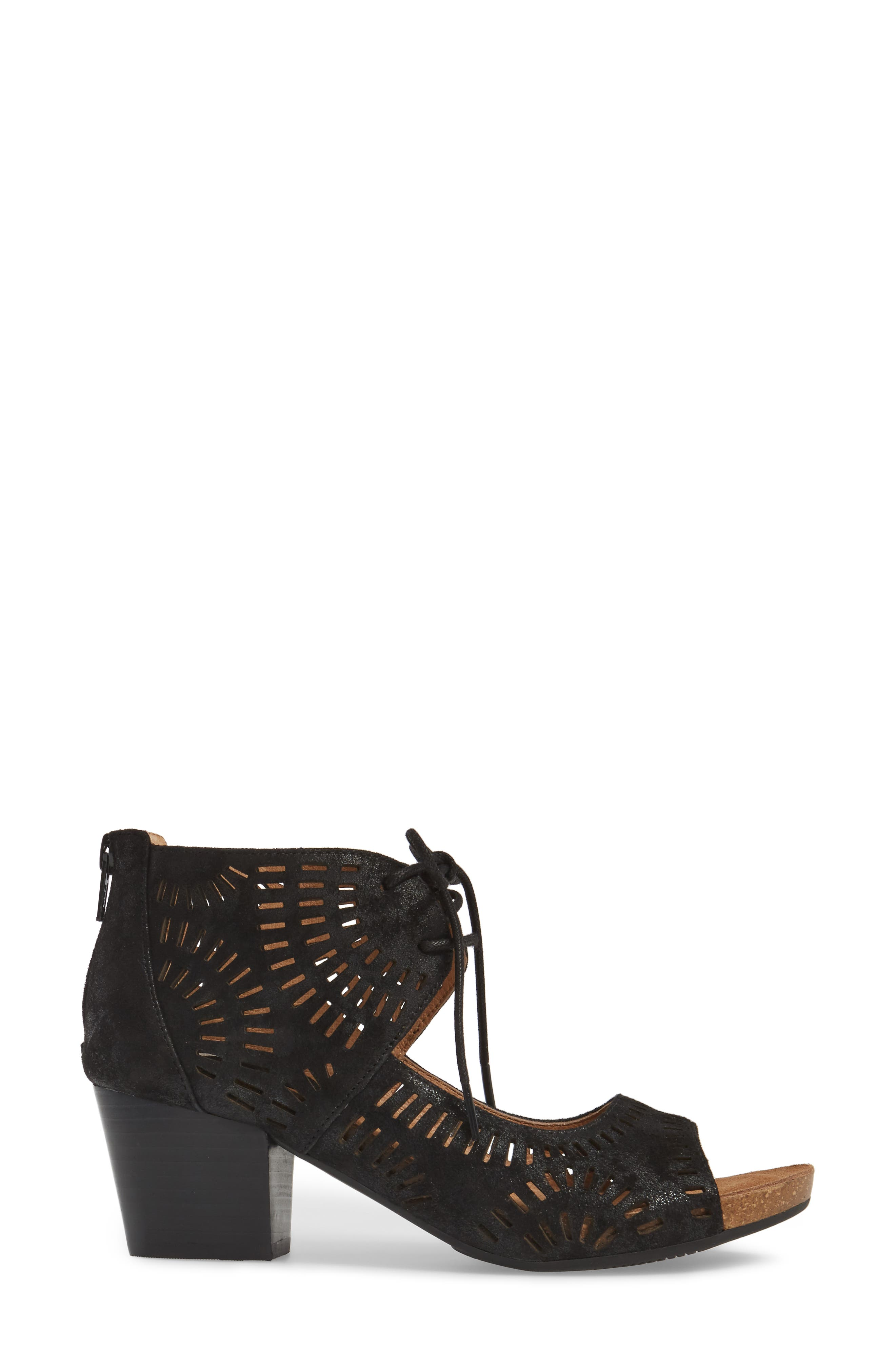 Modesto Perforated Sandal,                             Alternate thumbnail 3, color,                             Black Distressed Foil Suede