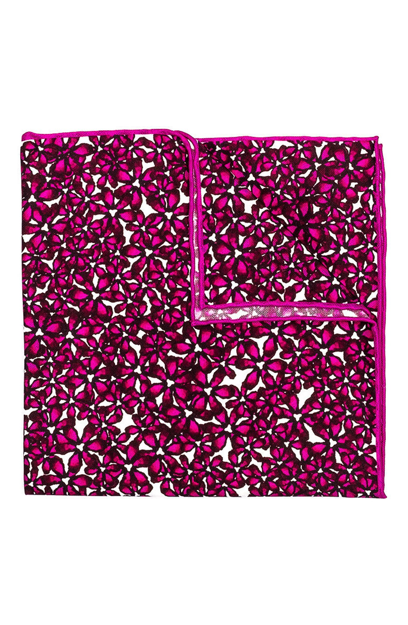 Bright Floral Silk Pocket Square,                         Main,                         color, Pink