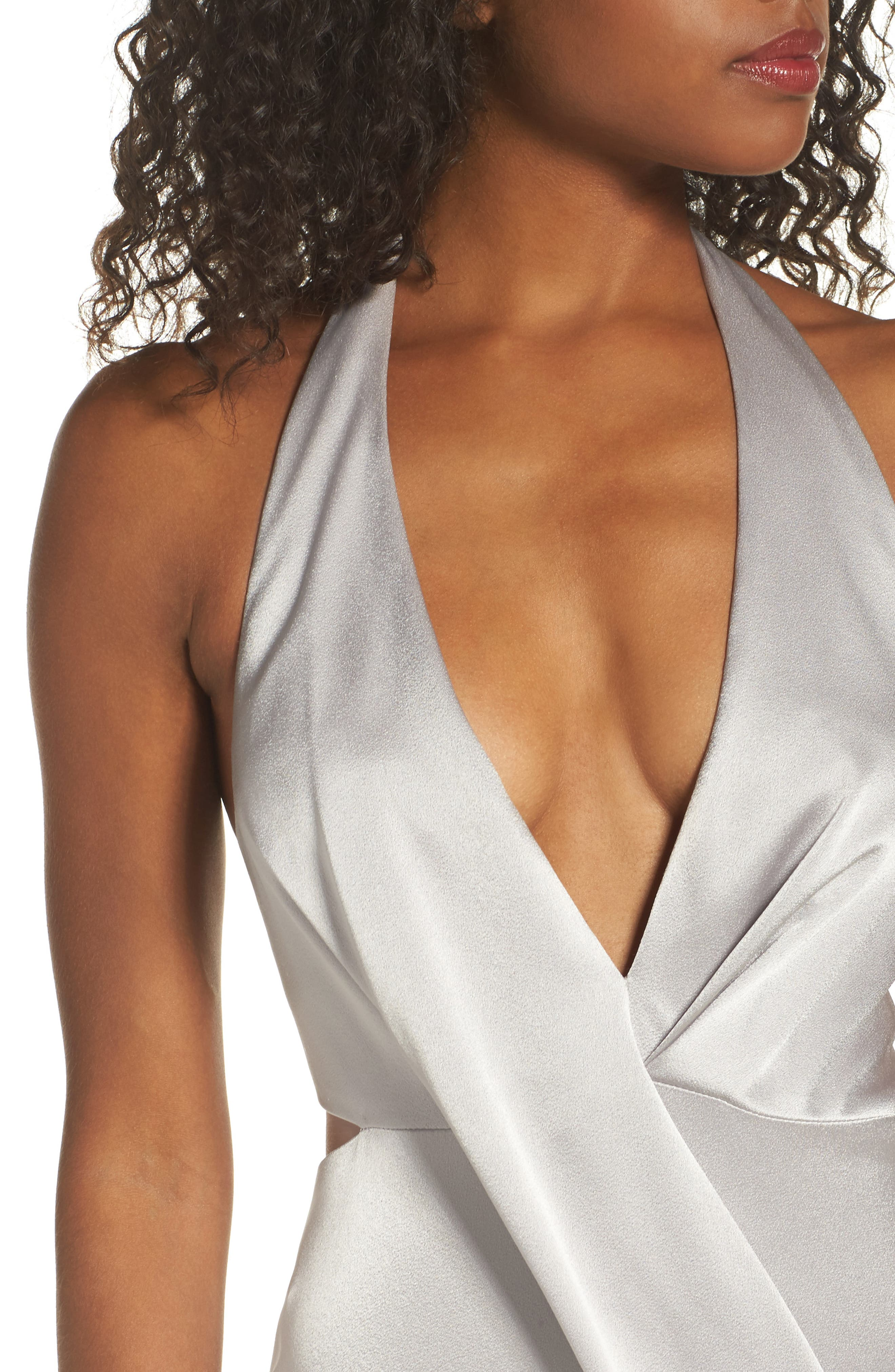 Alternate Image 4  - Halston Heritage V-Neck Draped Satin Gown