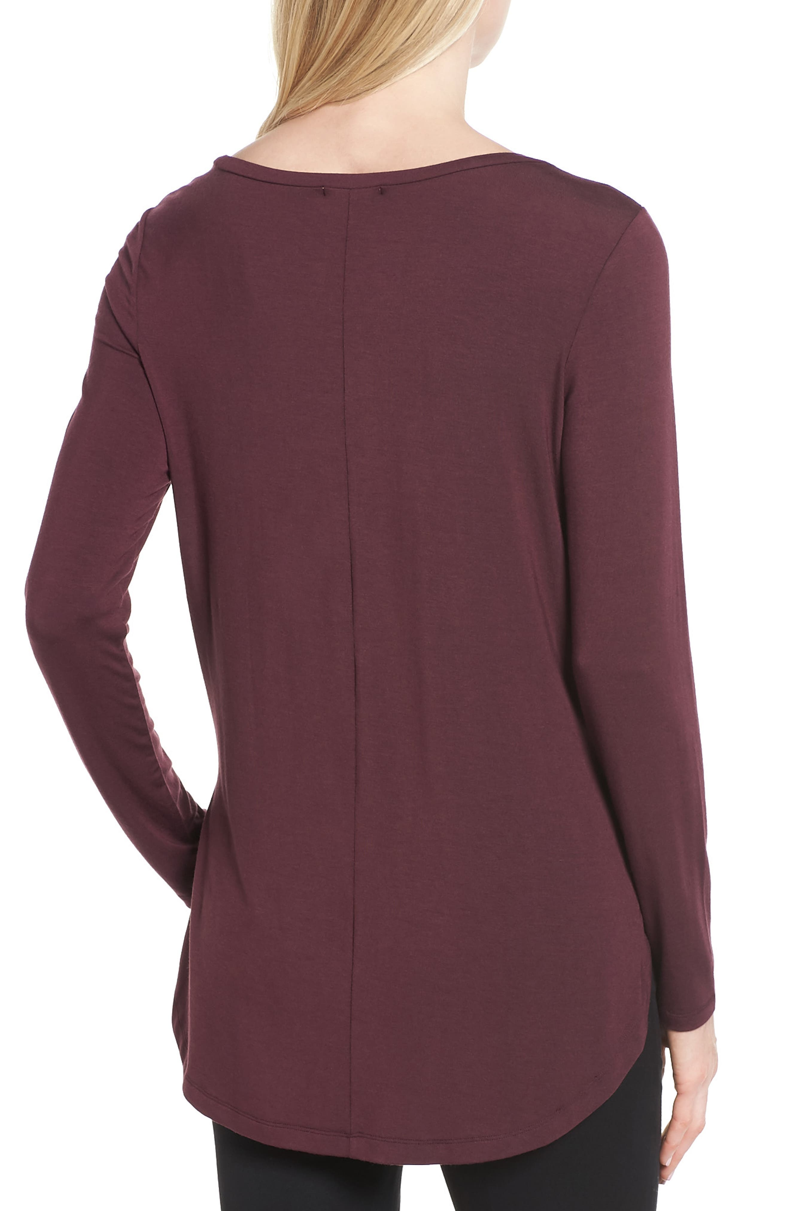 Alternate Image 2  - Halogen® Long Sleeve Knit Tunic (Regular & Petite)