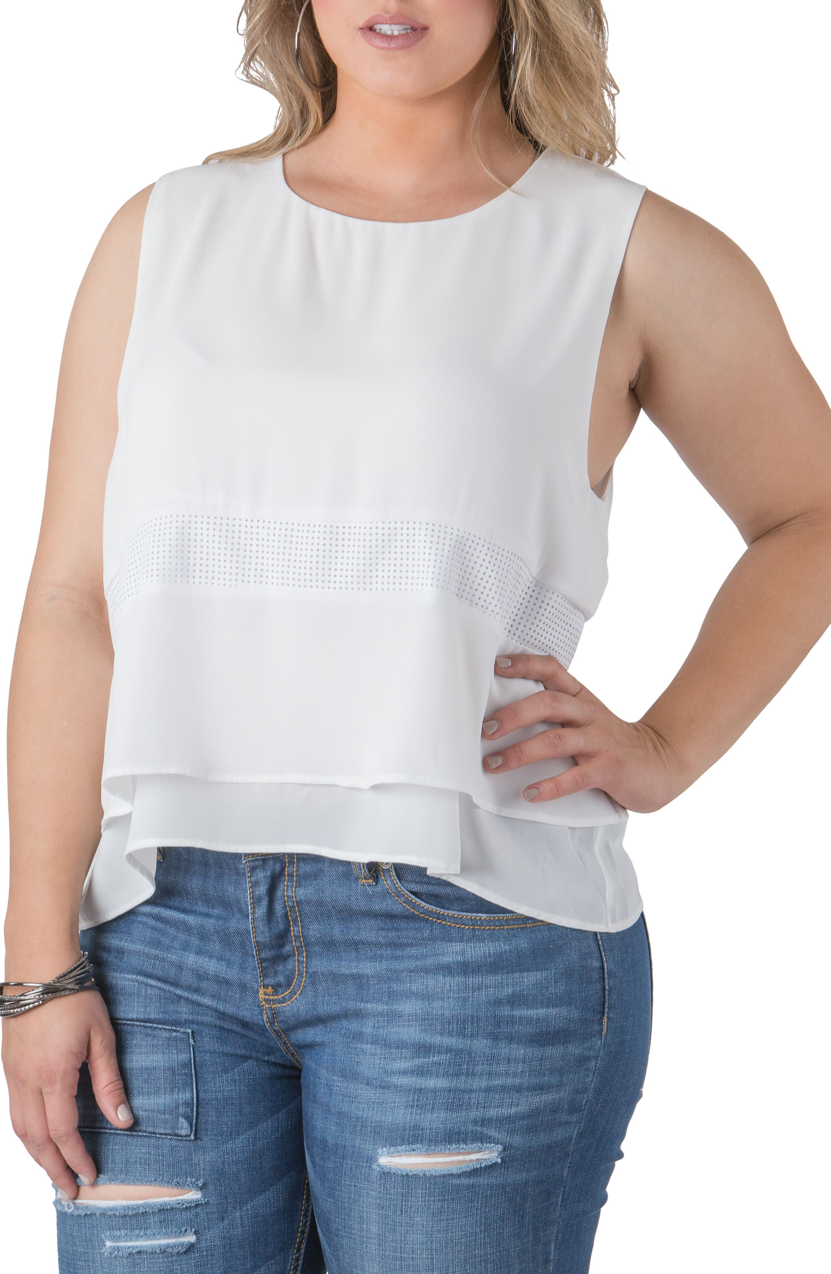 Alternate Image 4  - Standards & Practices Mandy Faux Leather Trim Top (Plus Size)