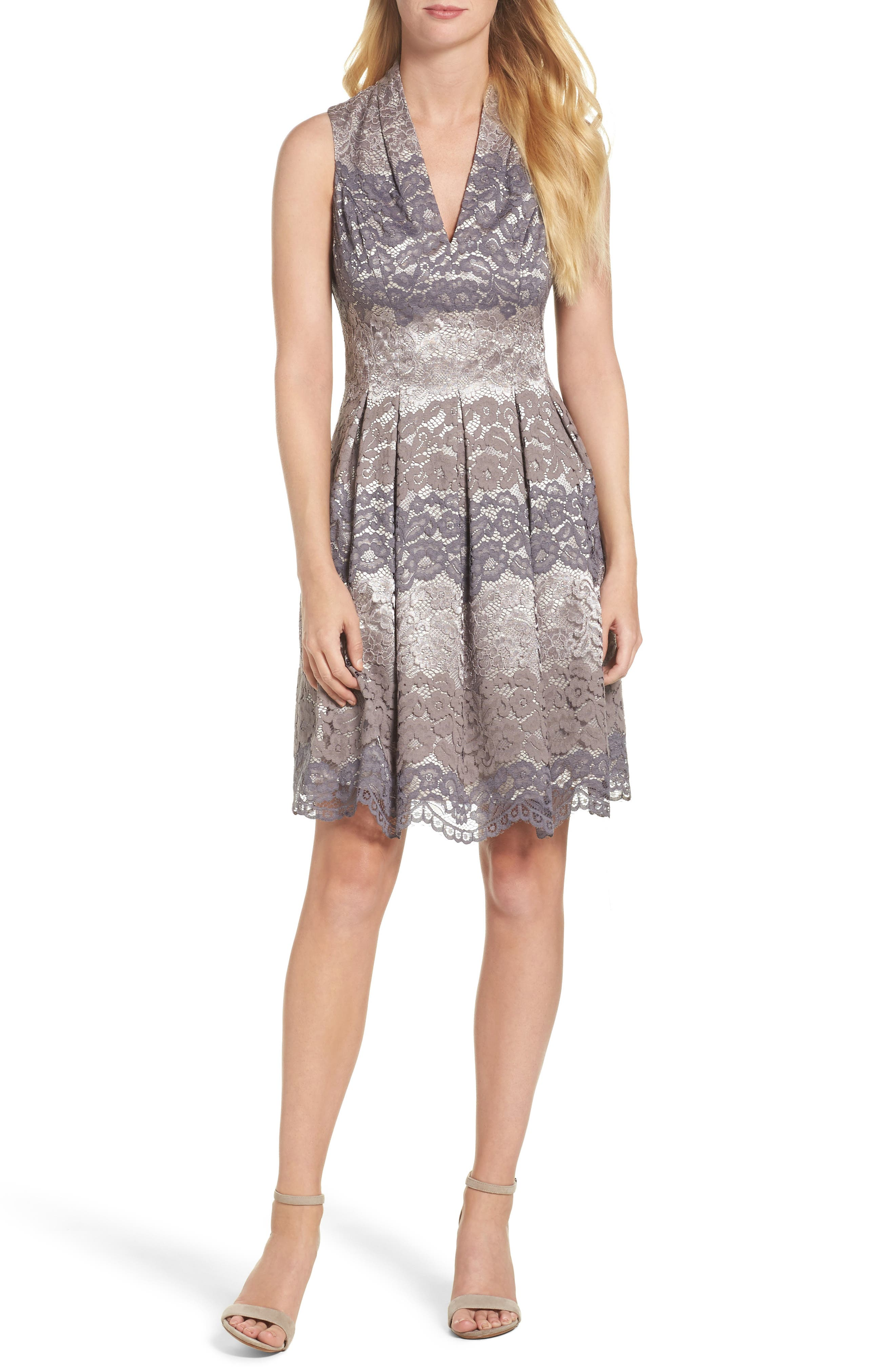 Lace Fit & Flare Dress,                         Main,                         color, Grey Multi