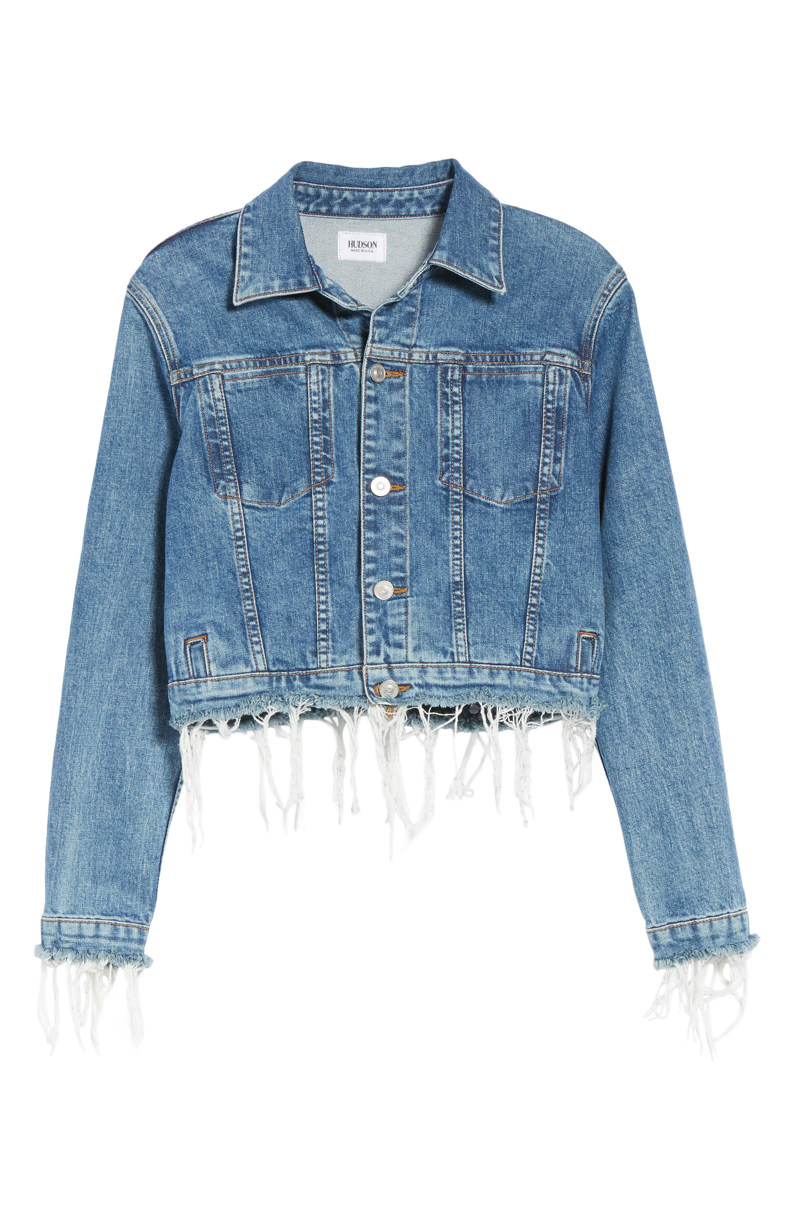 Garrison Crop Denim Jacket,                             Alternate thumbnail 6, color,                             Continuum
