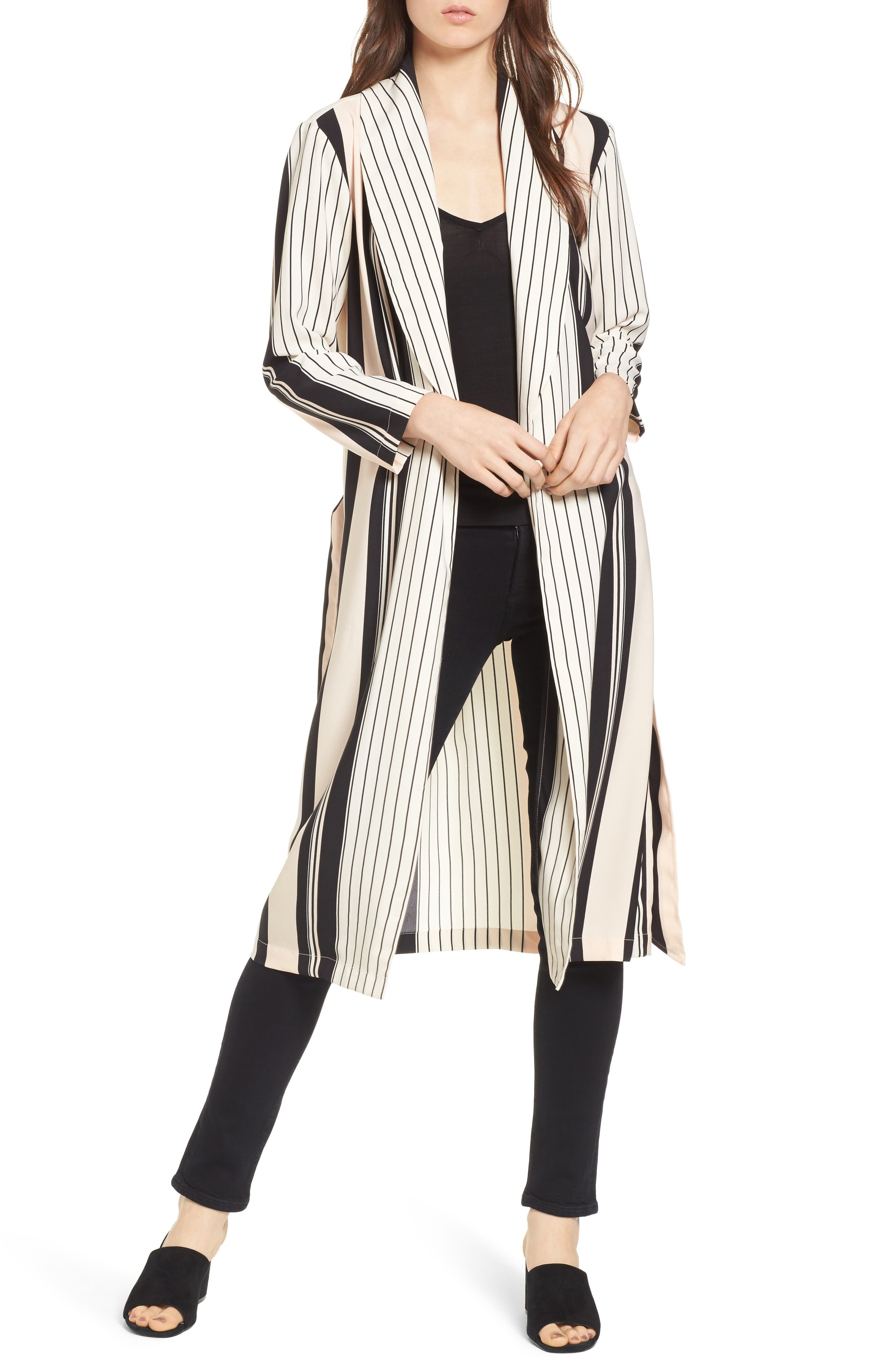 Alternate Image 1 Selected - Trouvé Stripe Longline Jacket