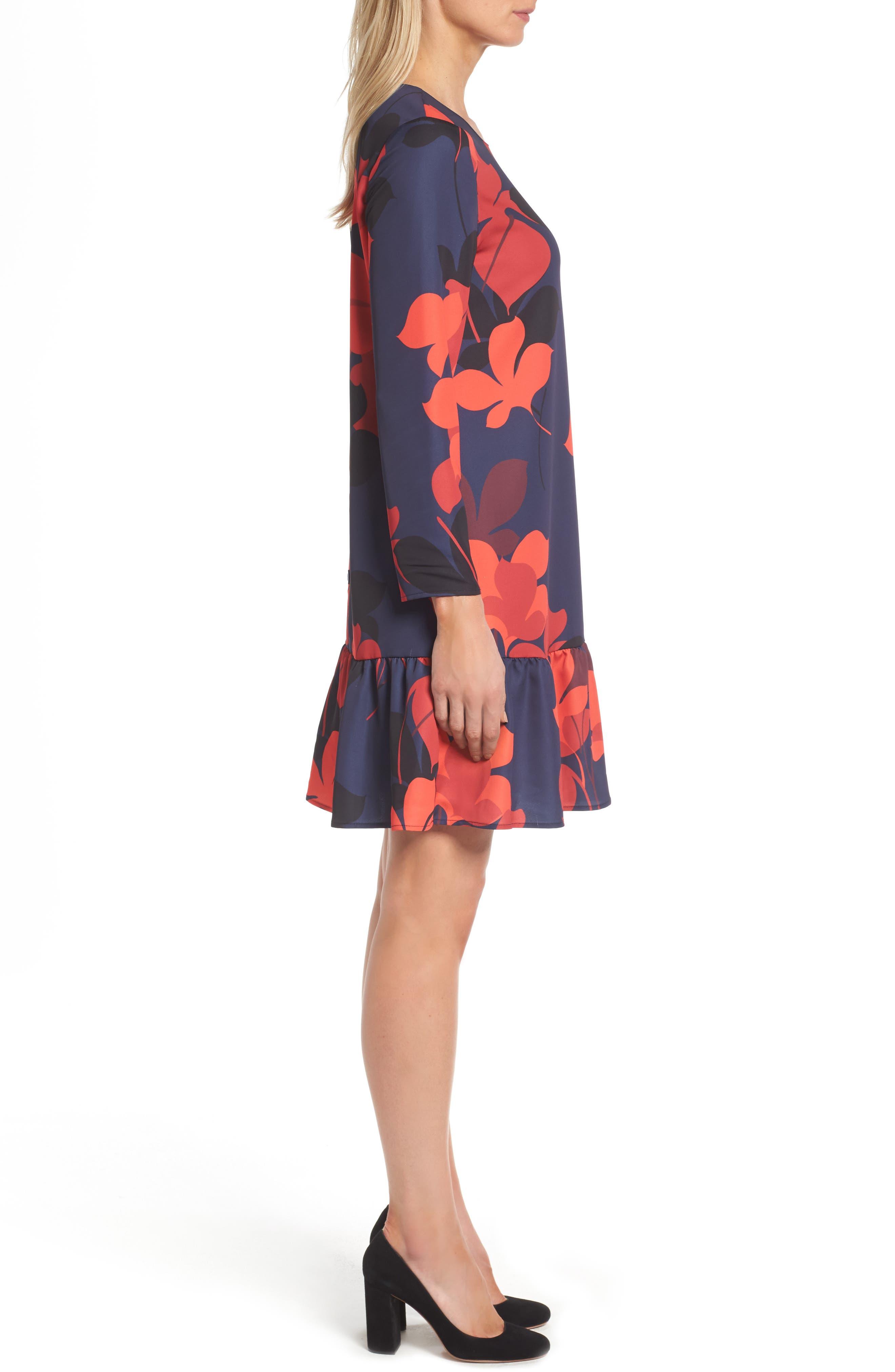 Alternate Image 3  - Halogen® Button Back Ruffle Hem Dress (Regular & Petite)
