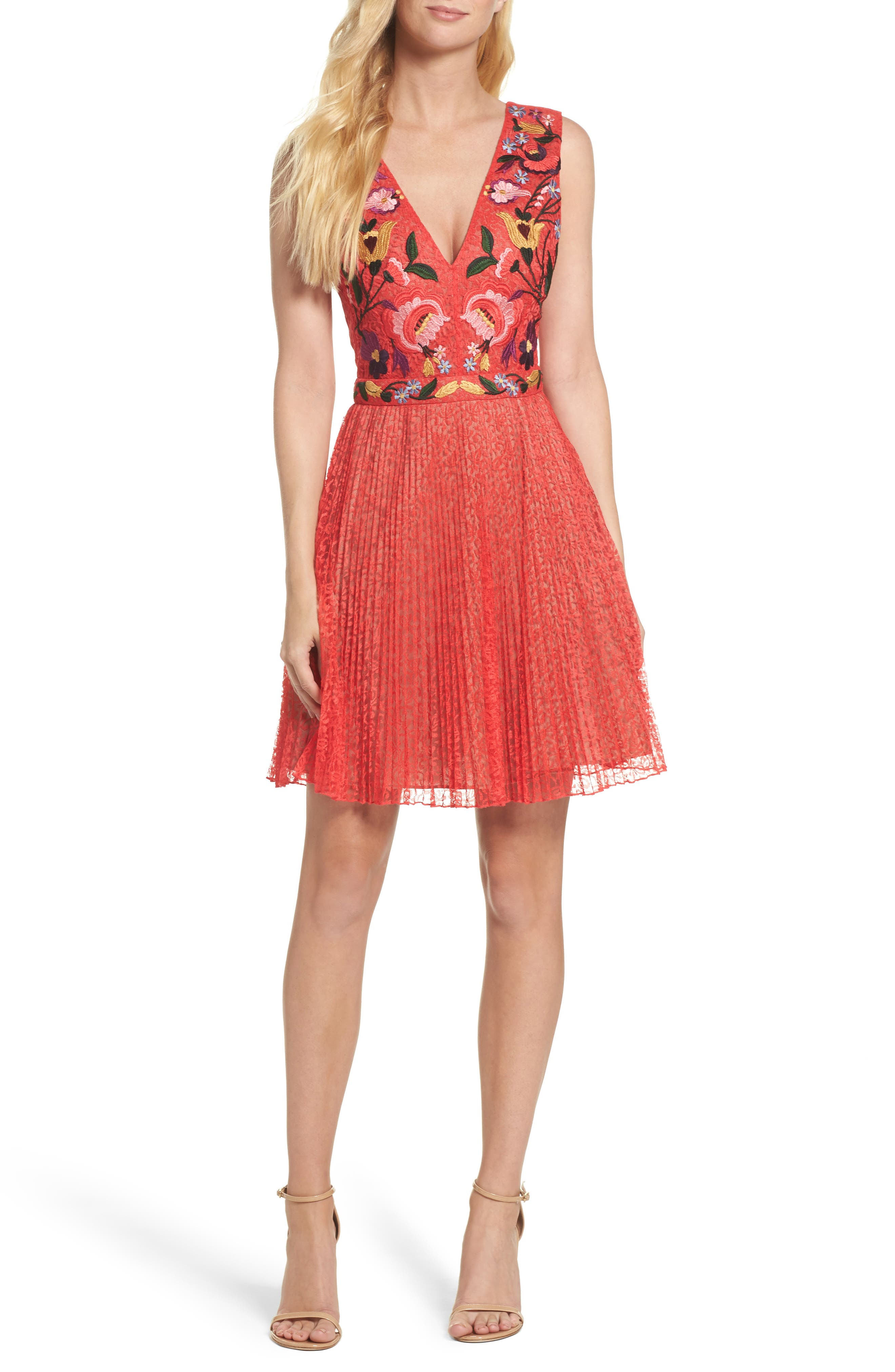 Alternate Image 1 Selected - French Connection Lace Fit & Flare Dress