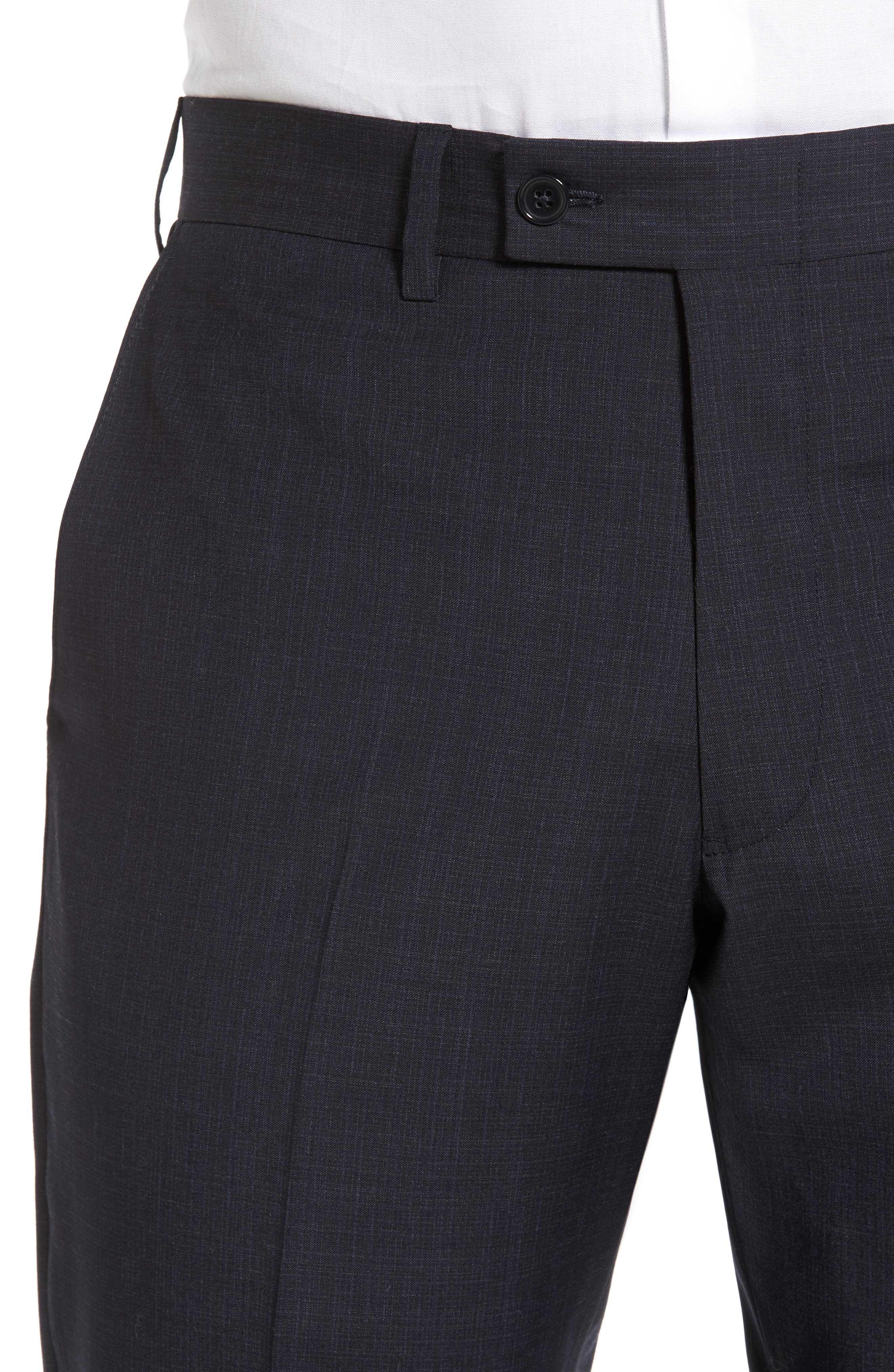 Flat Front Solid Wool Trousers,                             Alternate thumbnail 4, color,                             Navy