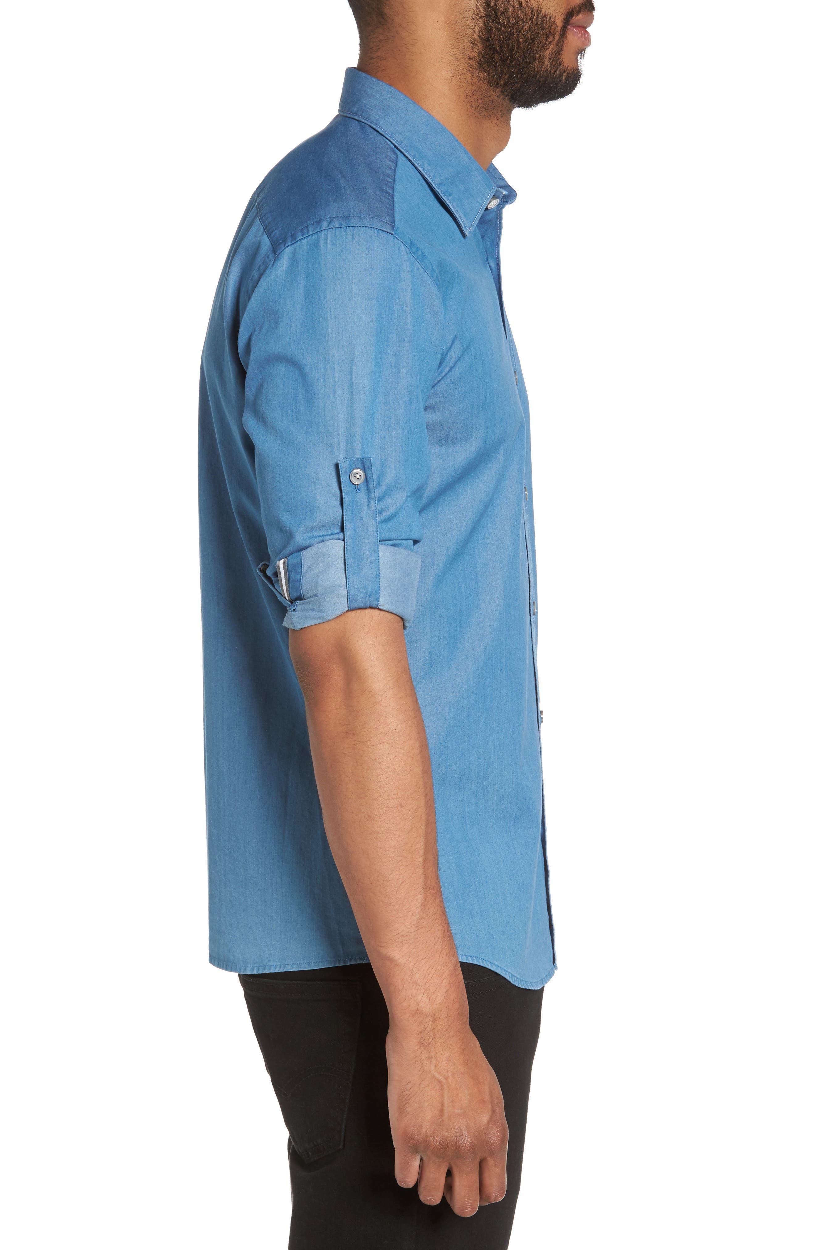 Reid Denim Sport Shirt,                             Alternate thumbnail 3, color,                             Blue