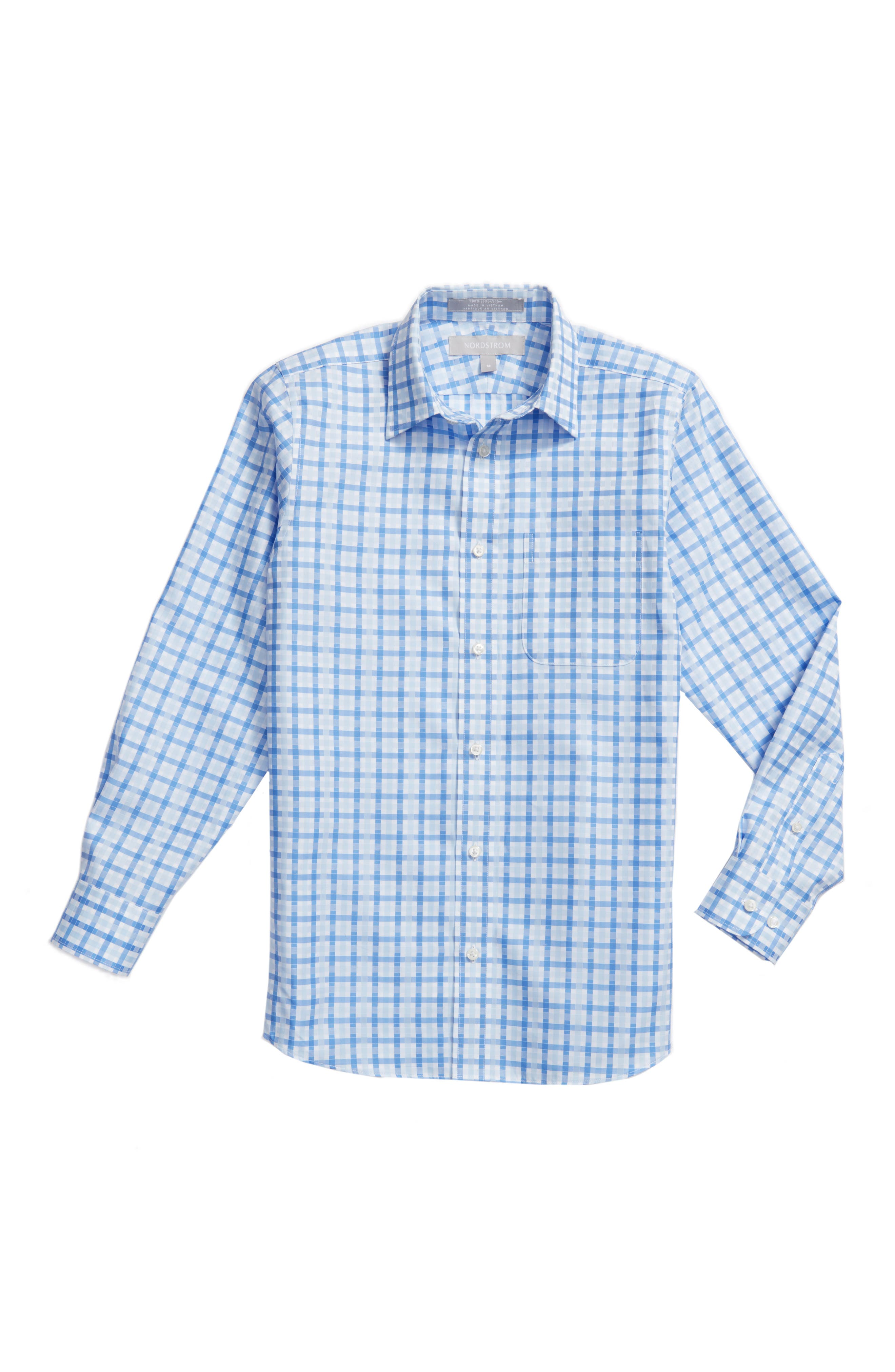 Nordstrom Kids Blue Haze Plaid Dress Shirt (Big Boys)