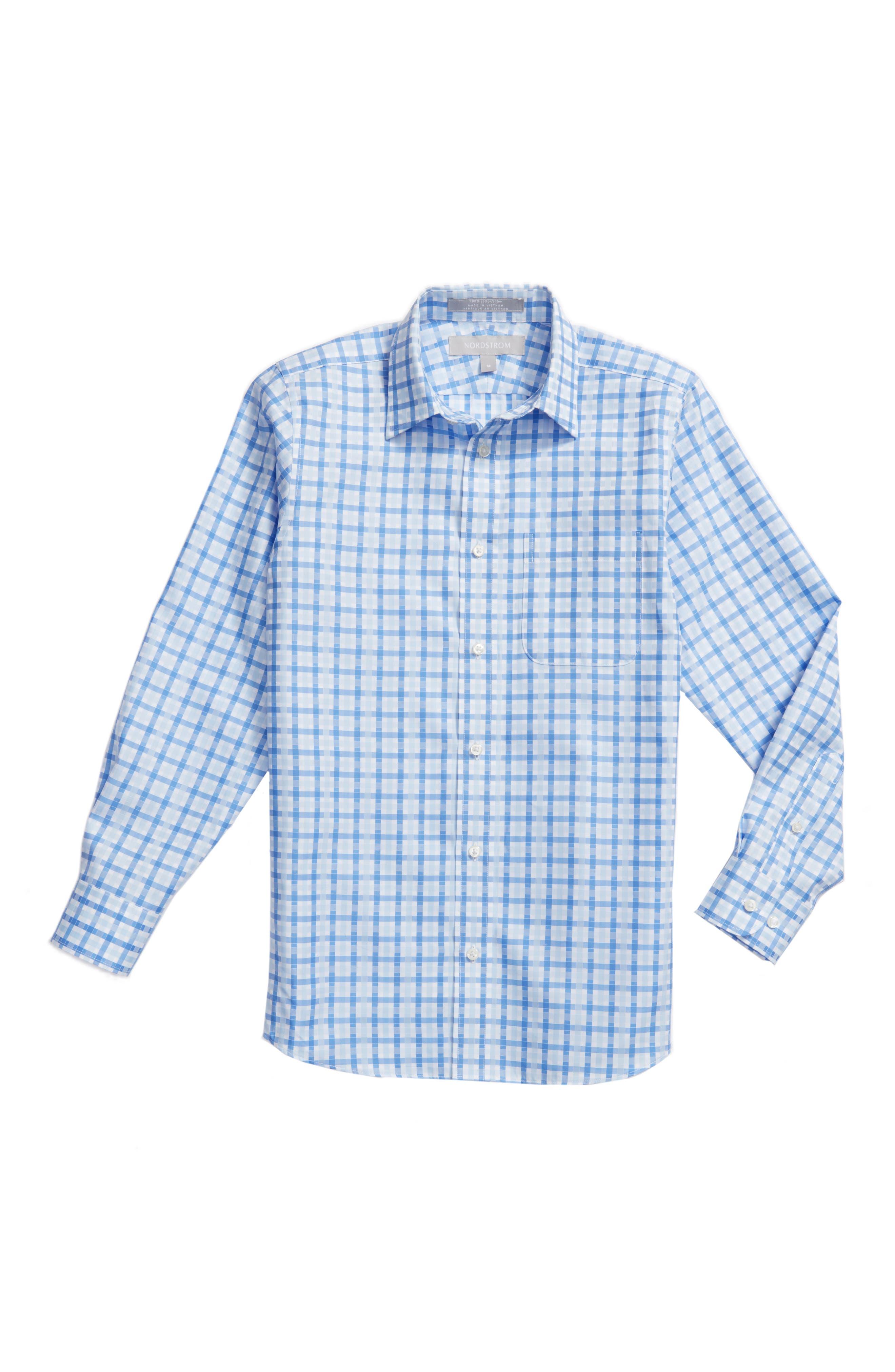 Nordstrom Kids Blue Haze Plaid Dress Shirt (Big Boys)