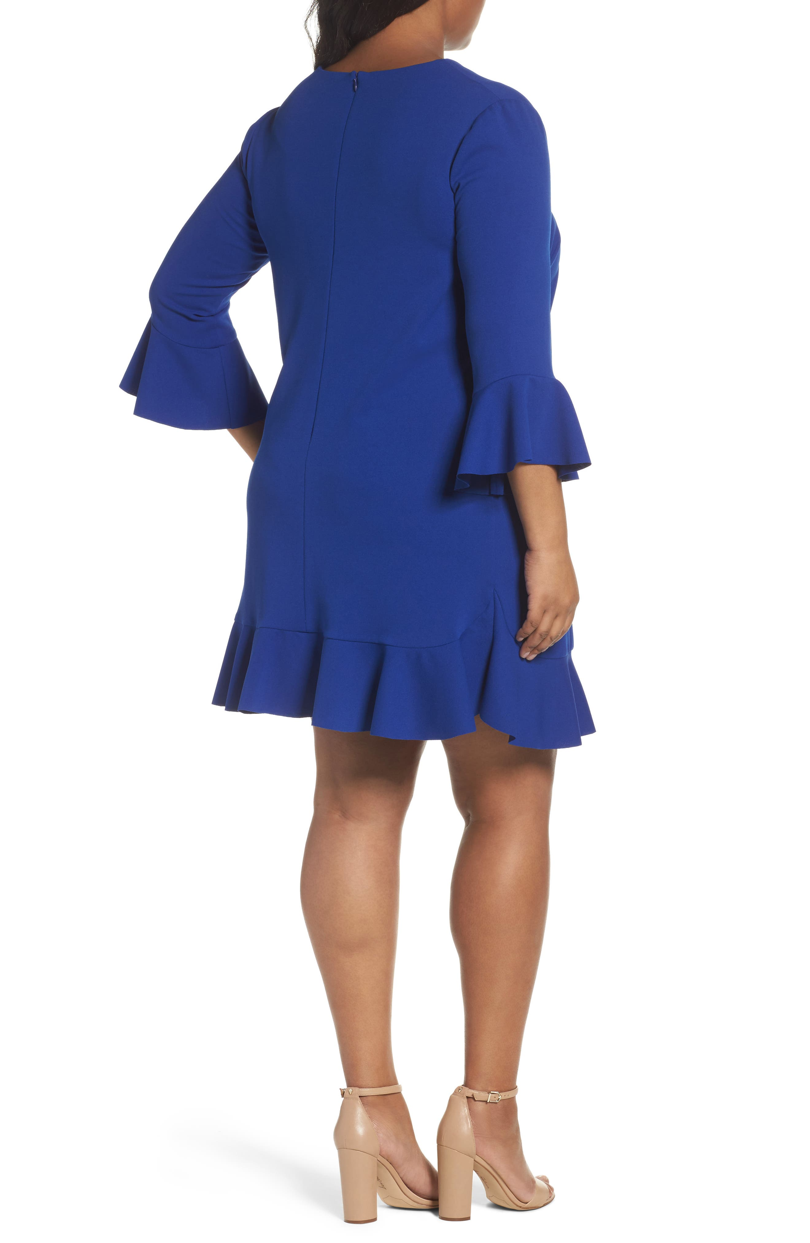 Alternate Image 2  - London Times Bell Sleeve Shift Dress (Plus Size)