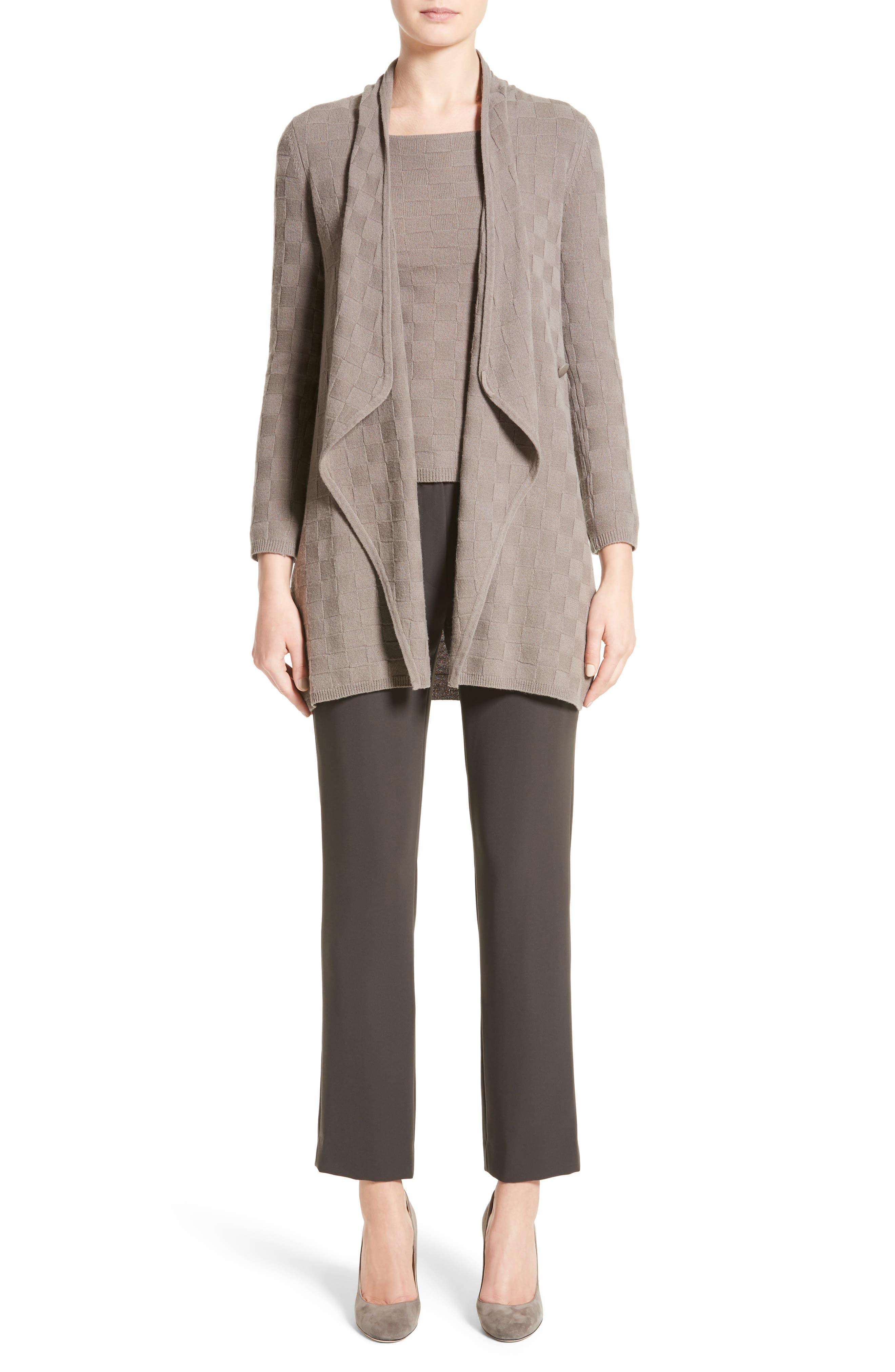 Alternate Image 7  - Armani Collezioni Checkerboard Cashmere Drape Cardigan