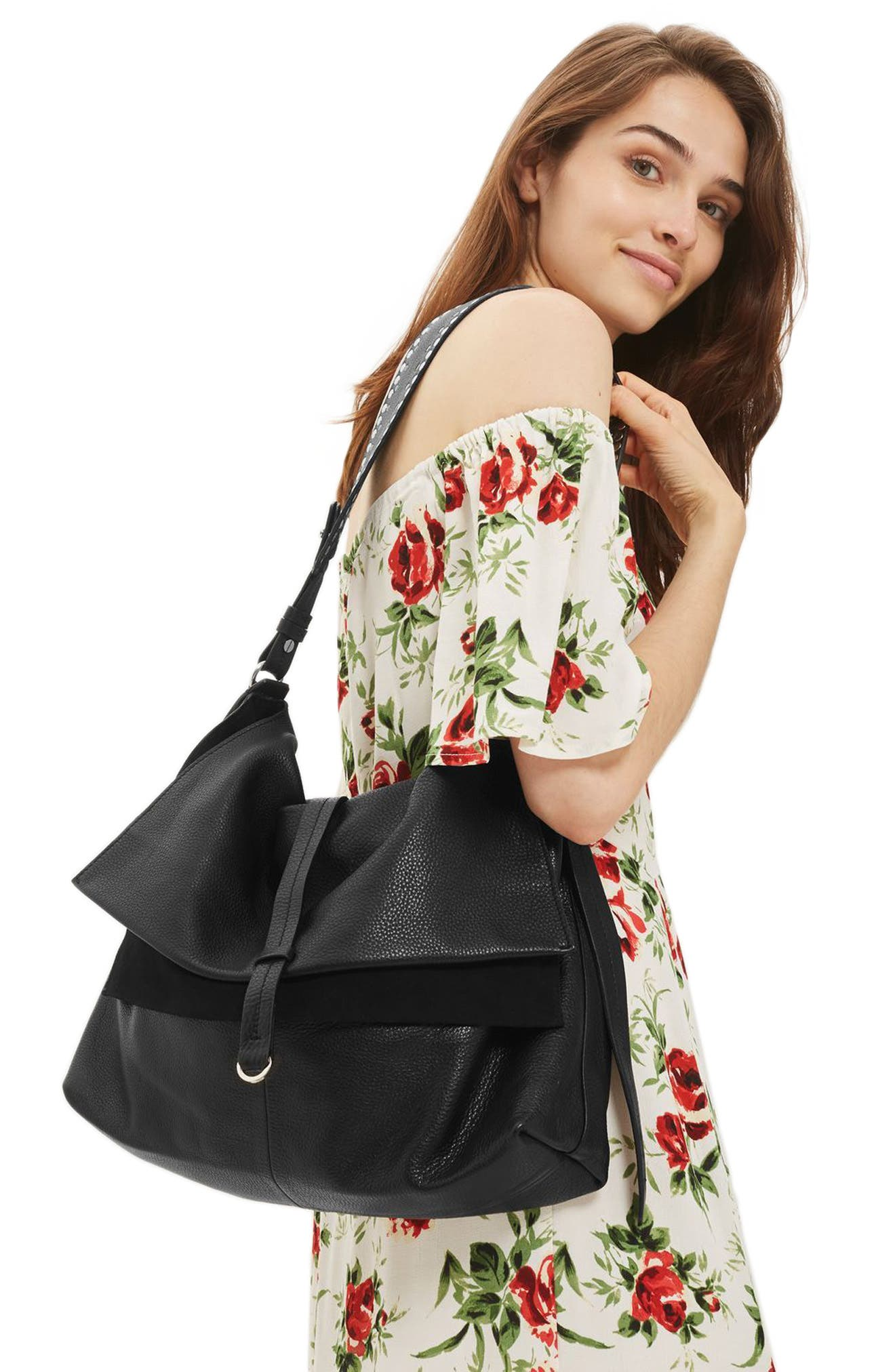 Alternate Image 2  - Topshop Premium Leather Hobo Bag