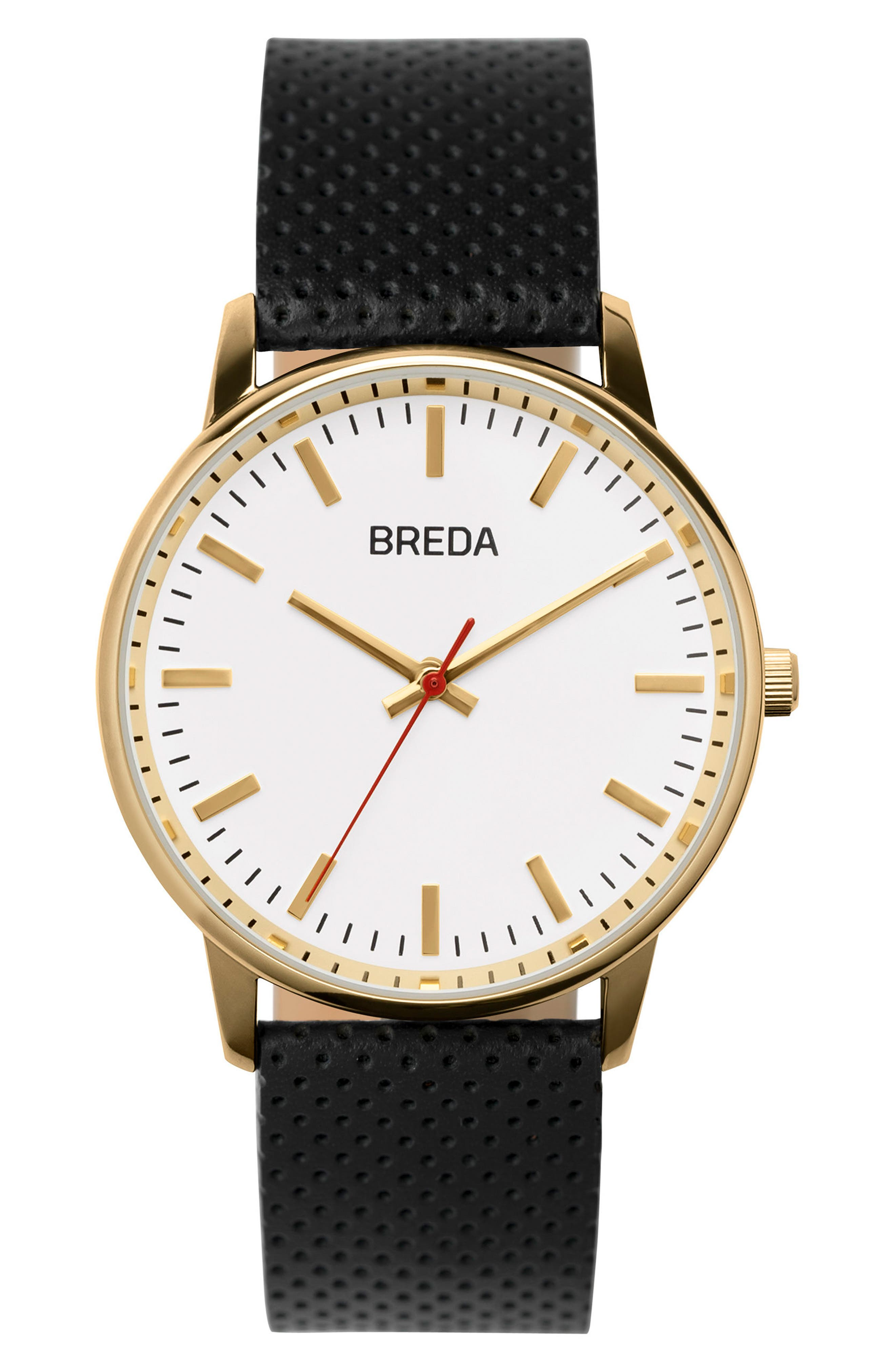 BREDA Round Perforated Leather Strap Watch, 39mm