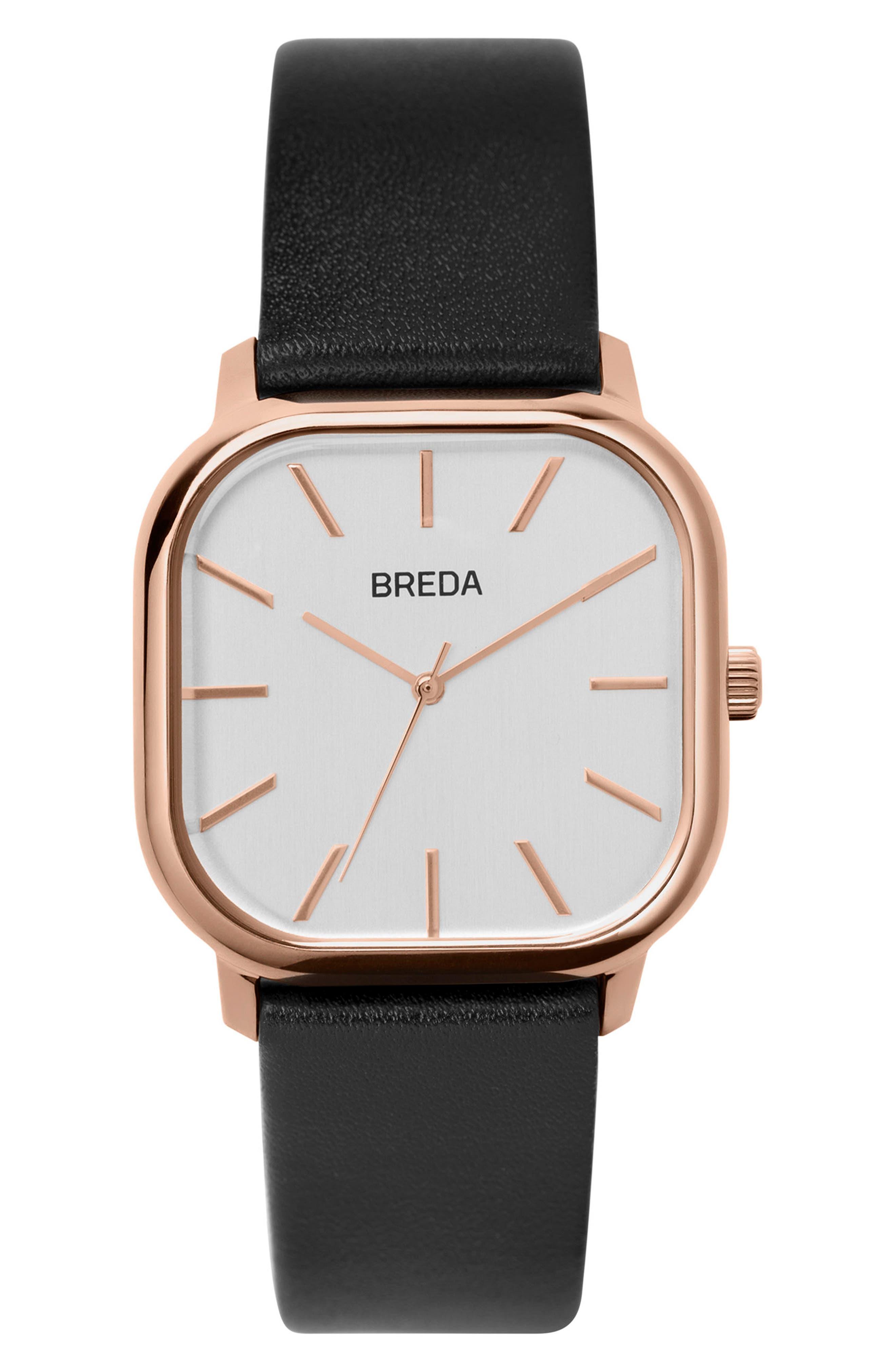 Visser Square Leather Strap Watch, 35mm,                         Main,                         color, White/ Black