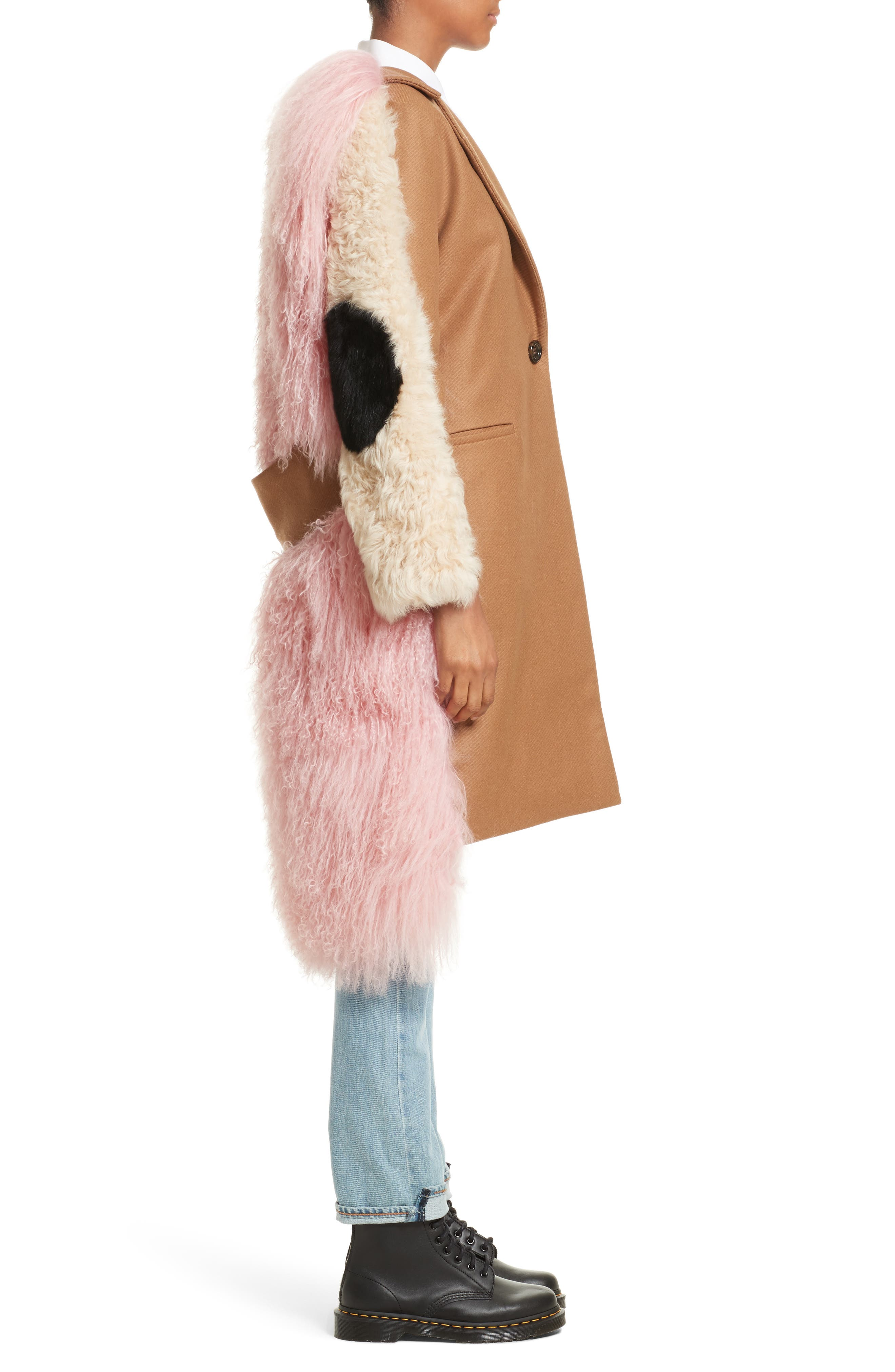 Mingo Wool Blend & Genuine Shearling Coat,                             Alternate thumbnail 6, color,                             Curry Pink