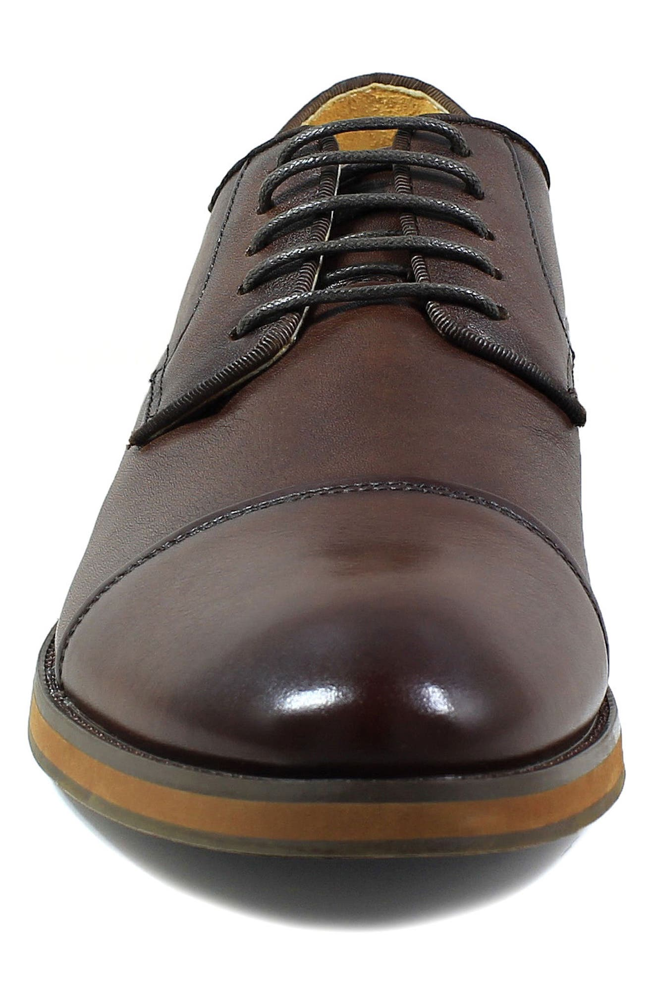Blaze Cap Toe Derby,                             Alternate thumbnail 4, color,                             Cognac Leather