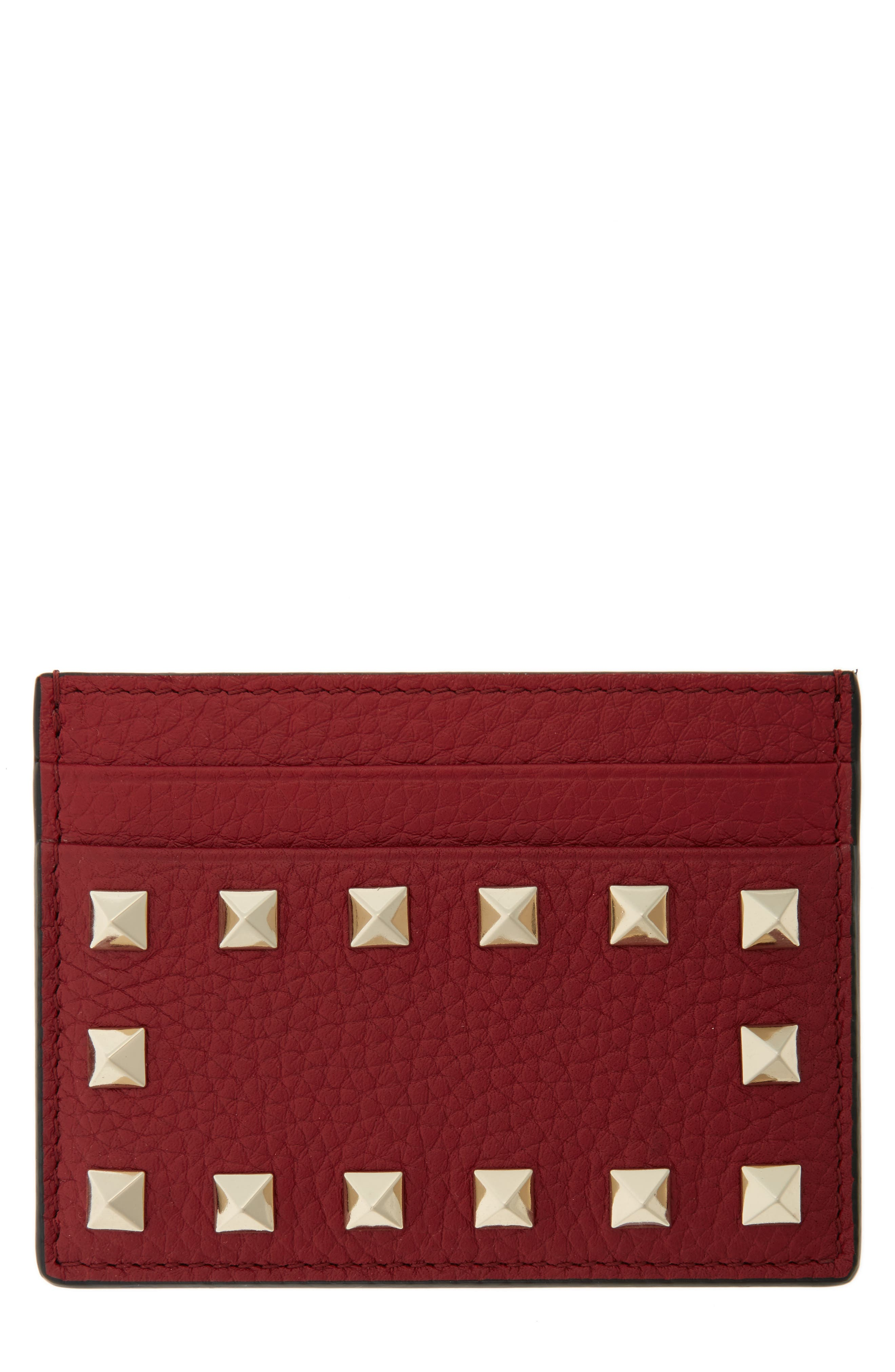 Alternate Image 1 Selected - VALENTINO GARAVANI Rockstud Leather Card Holder