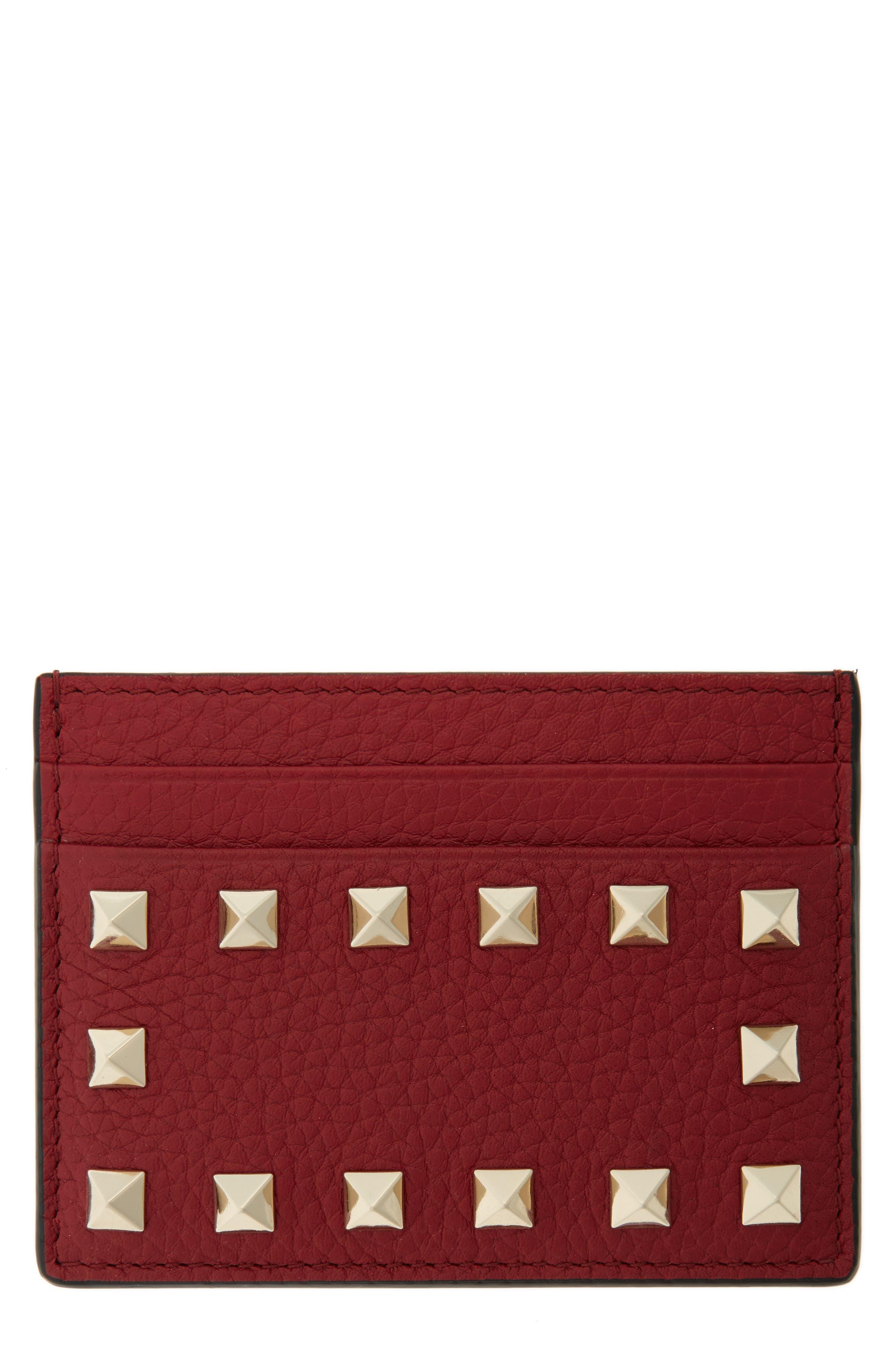 Main Image - VALENTINO GARAVANI Rockstud Leather Card Holder