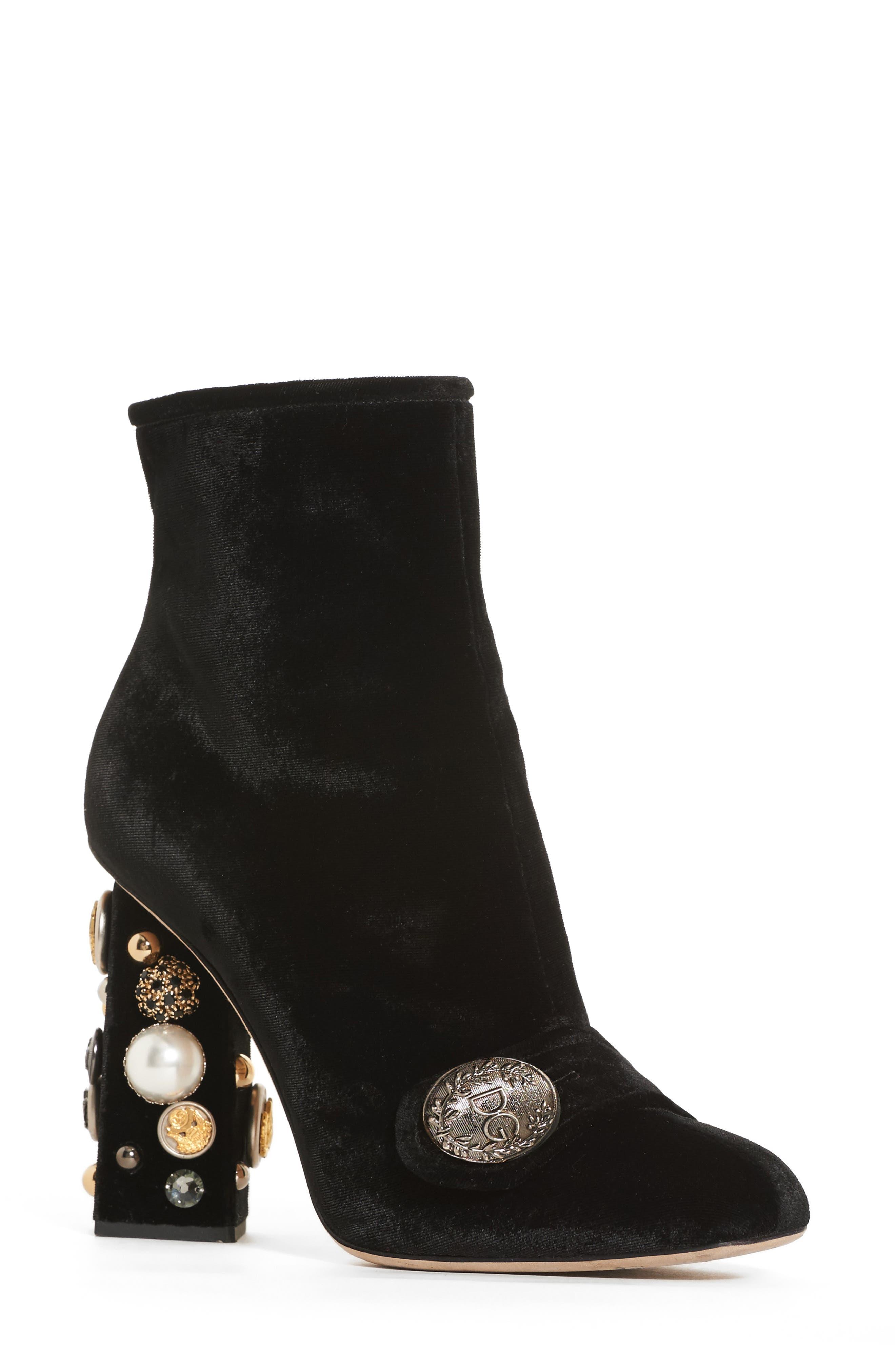 Dolce&Gabbana Pearl Statement Heel Bootie (Women)