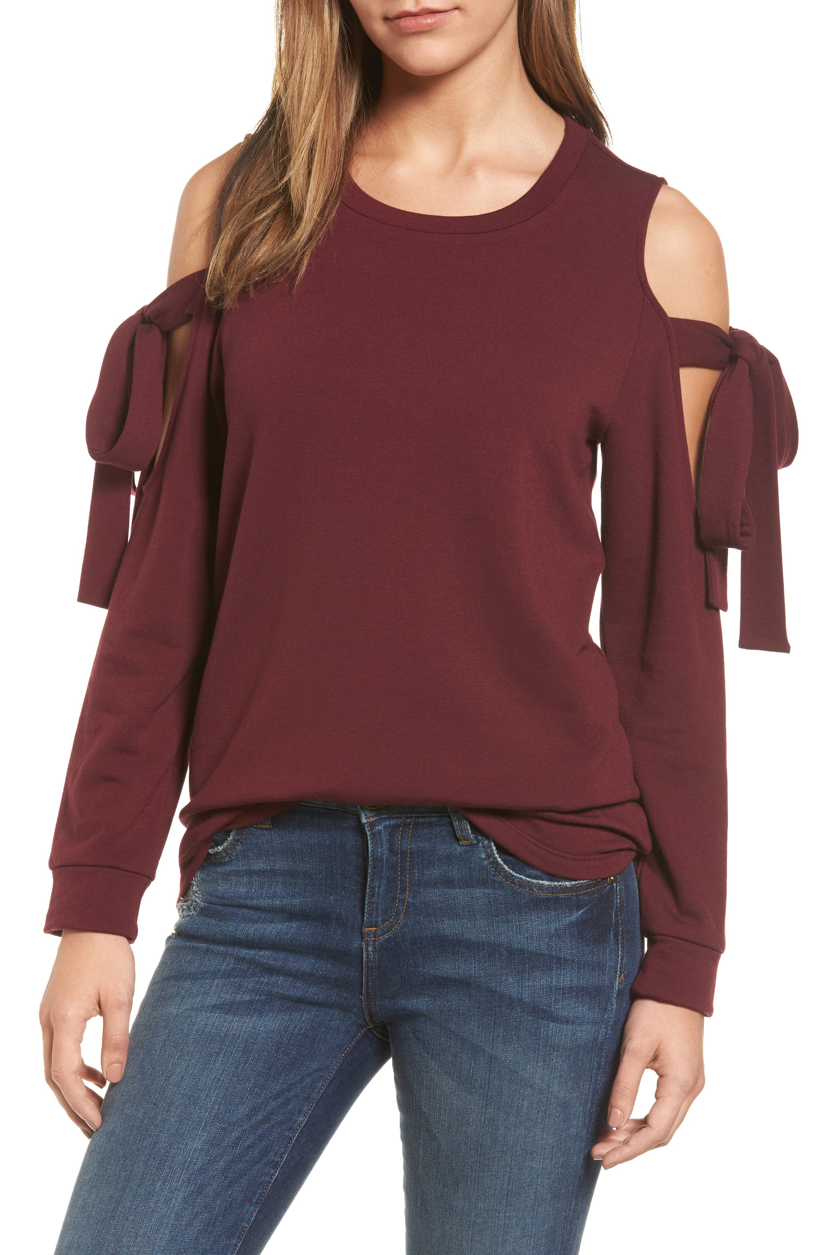 Alternate Image 1 Selected - Pleione Cold Shoulder Tie Sleeve Sweatshirt (Regular & Petite)