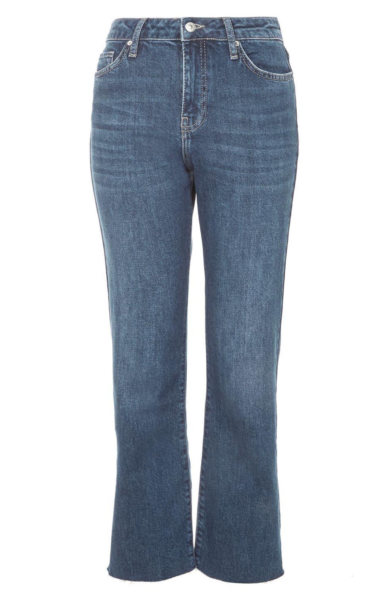 Weekend Dree Crop Flare Jeans,                             Alternate thumbnail 3, color,                             Mid Denim
