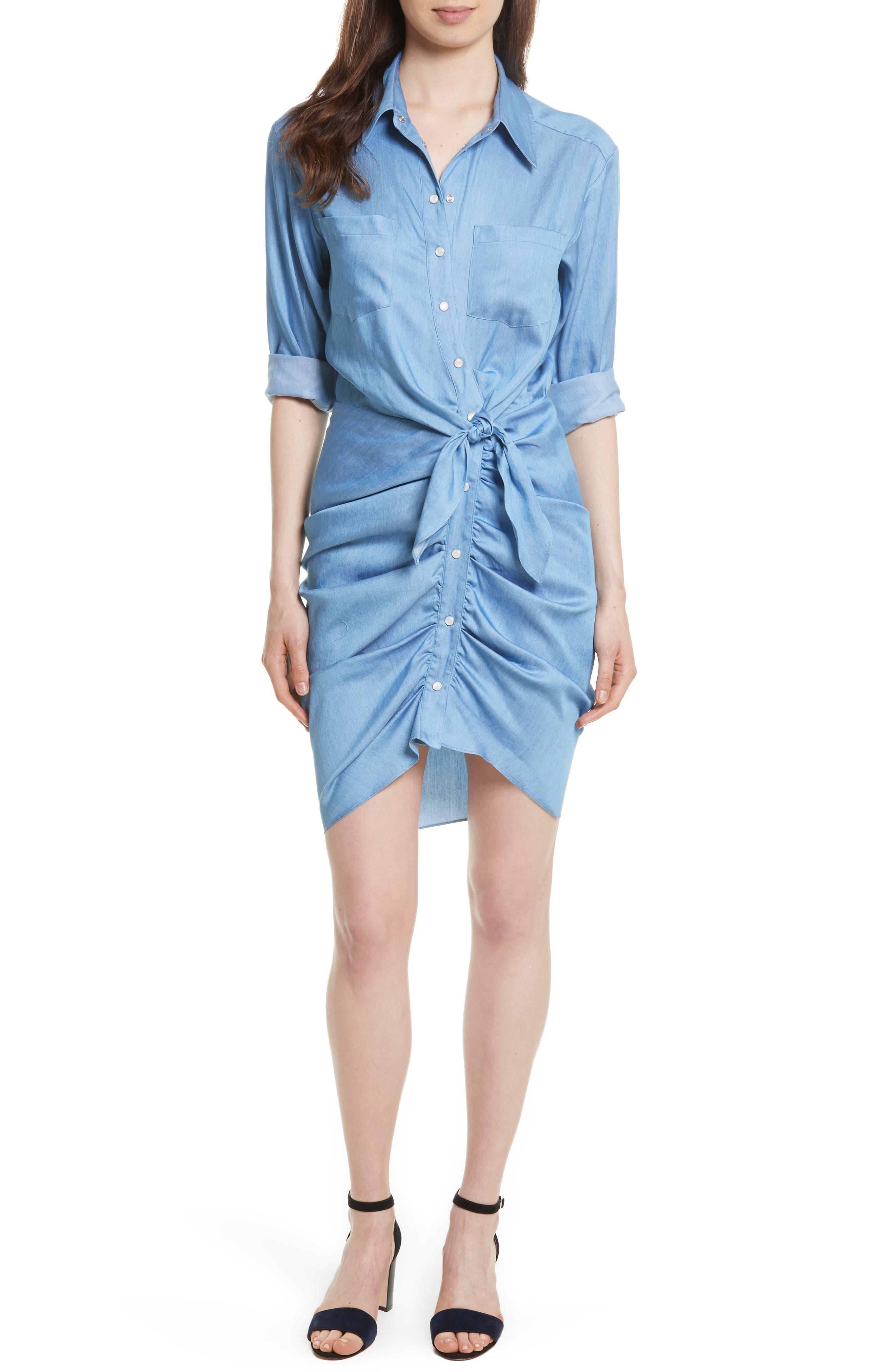Sierra Ruched Shirtdress,                         Main,                         color, Chambray