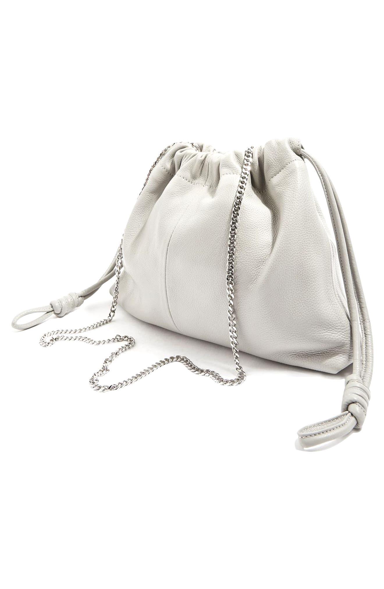 Alternate Image 3  - Topshop Premium Leather Drawstring Crossbody Bag