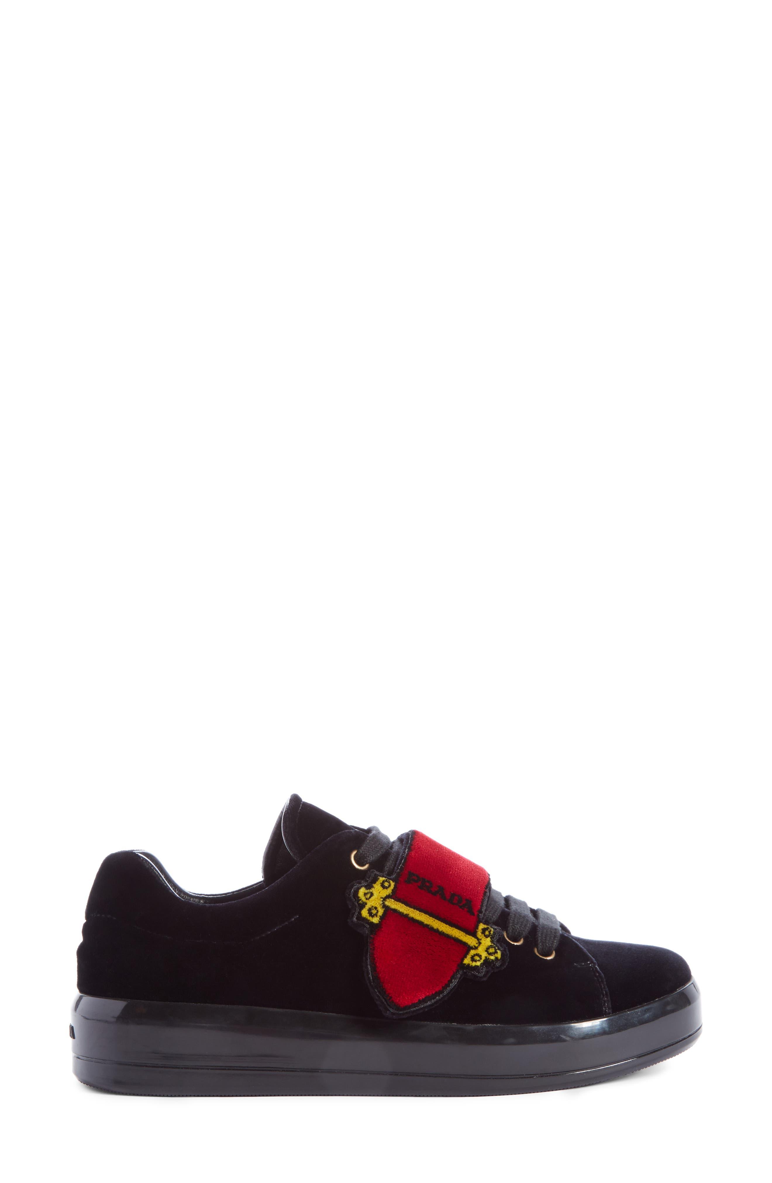 Logo Strap Sneaker,                             Alternate thumbnail 4, color,                             Black
