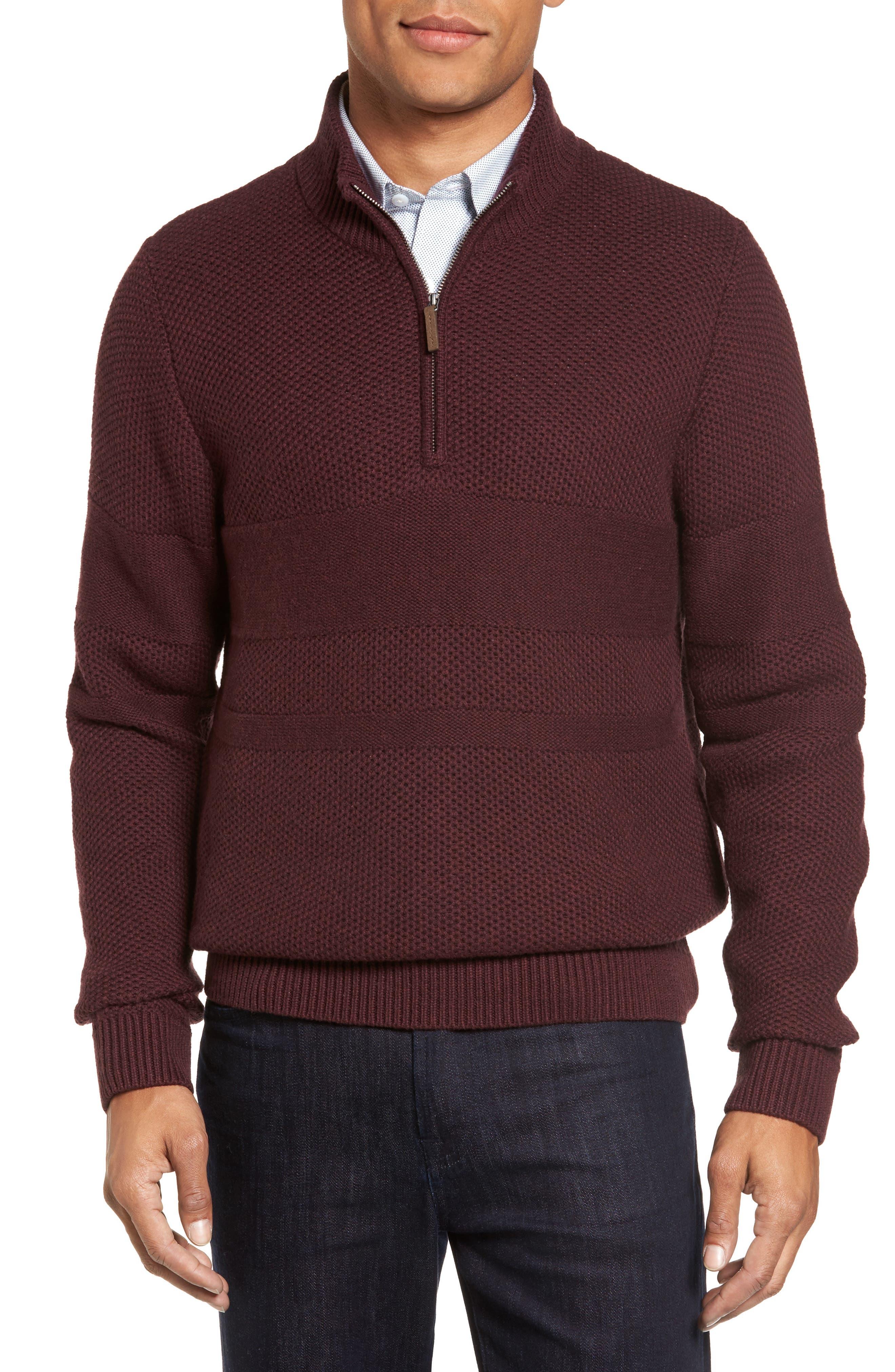 Texture Cotton & Cashmere Quarter Zip Sweater,                         Main,                         color, Burgundy Fudge Heather