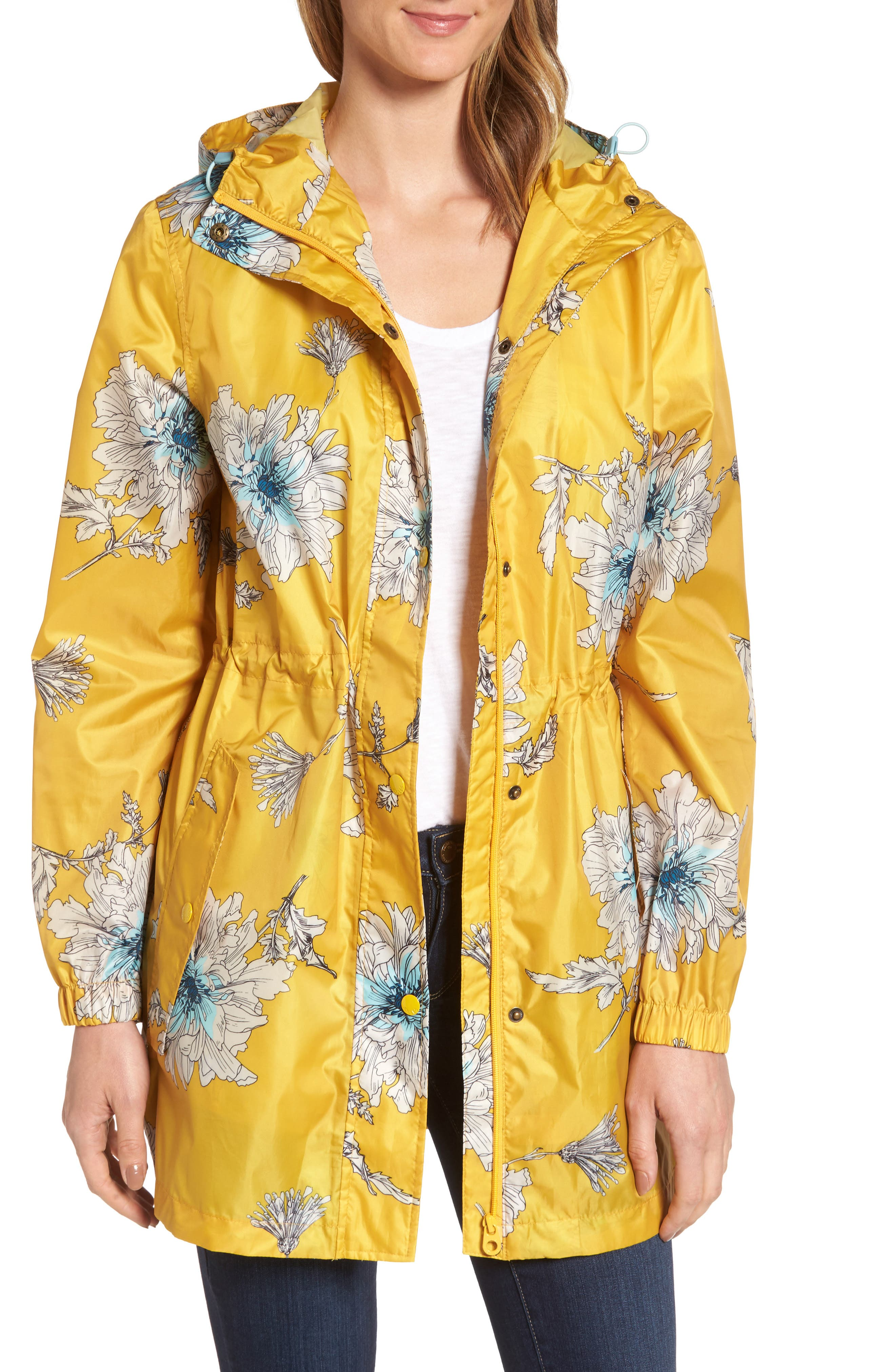 Right as Rain Packable Print Hooded Raincoat,                         Main,                         color, Antique Gold Peony