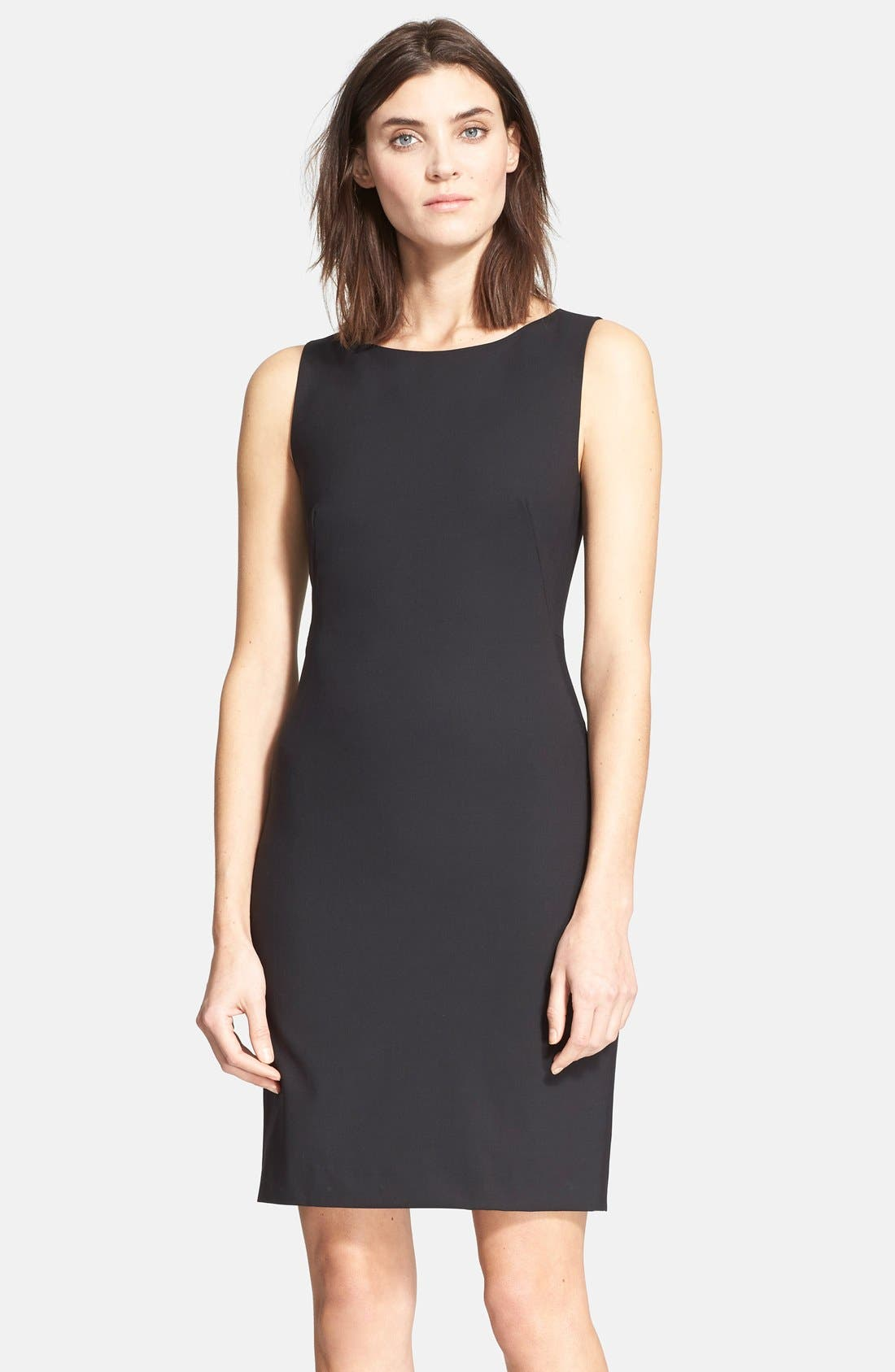 'Betty.2B' Stretch Wool Sheath Dress,                             Main thumbnail 1, color,                             Black