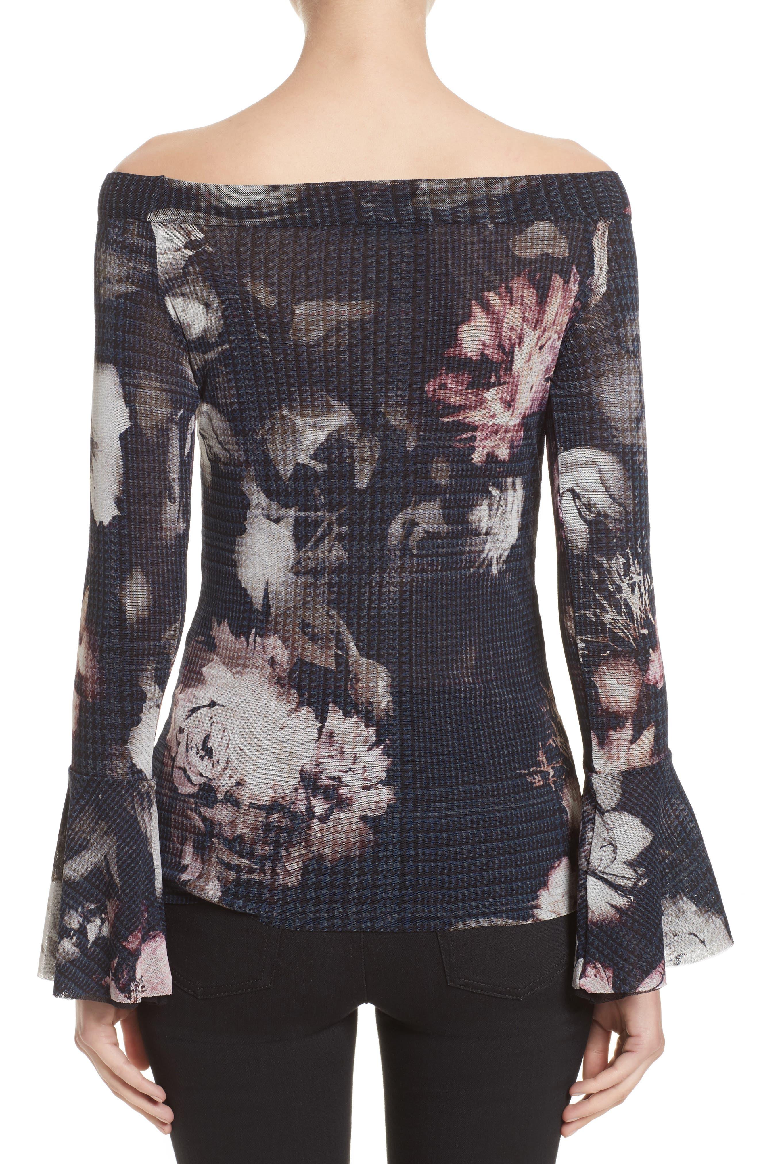 Alternate Image 2  - Fuzzi Floral Print Tulle Off the Shoulder Top
