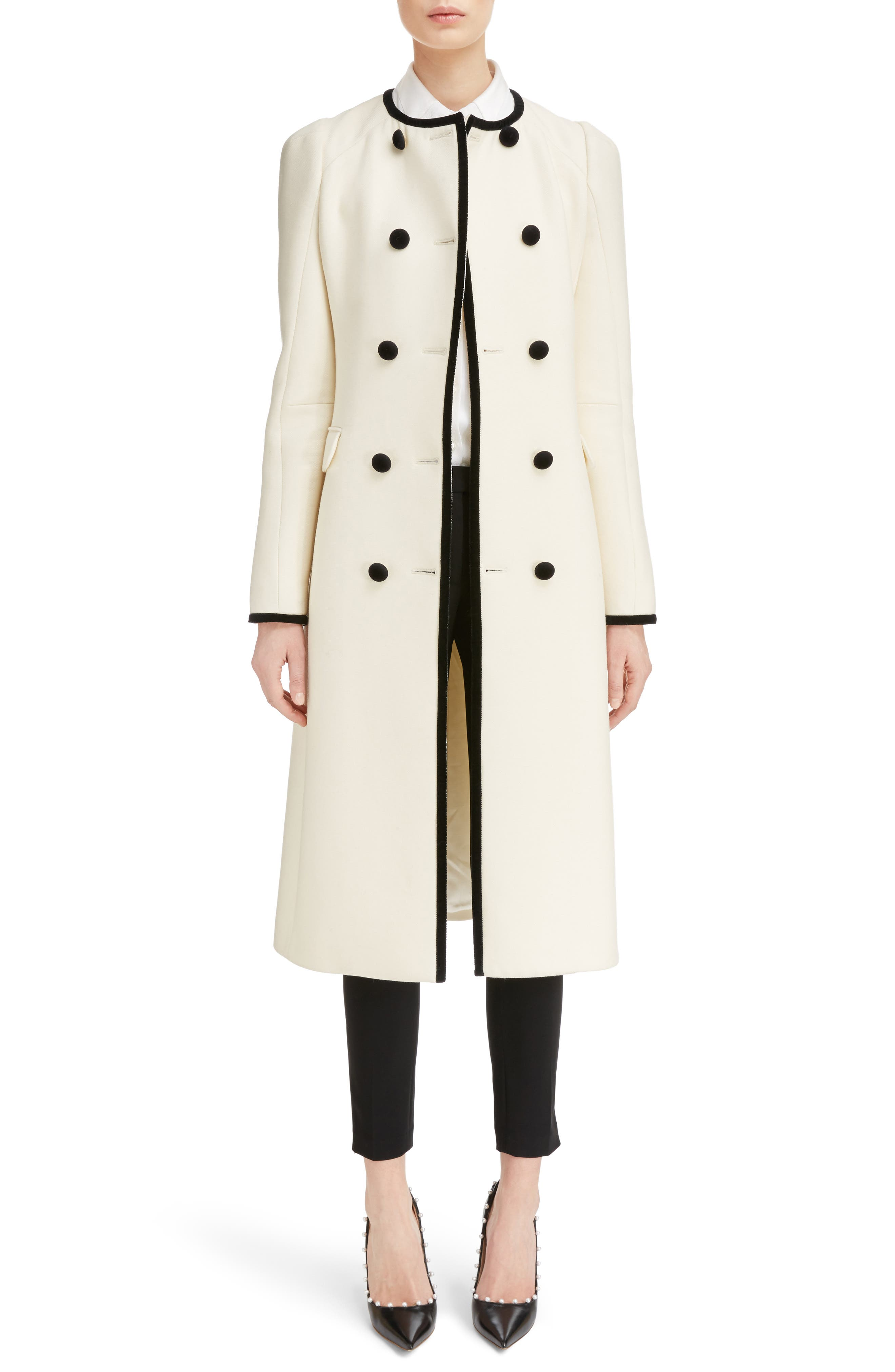 Bellasio Double Breasted Wool Coat,                         Main,                         color, Natural White