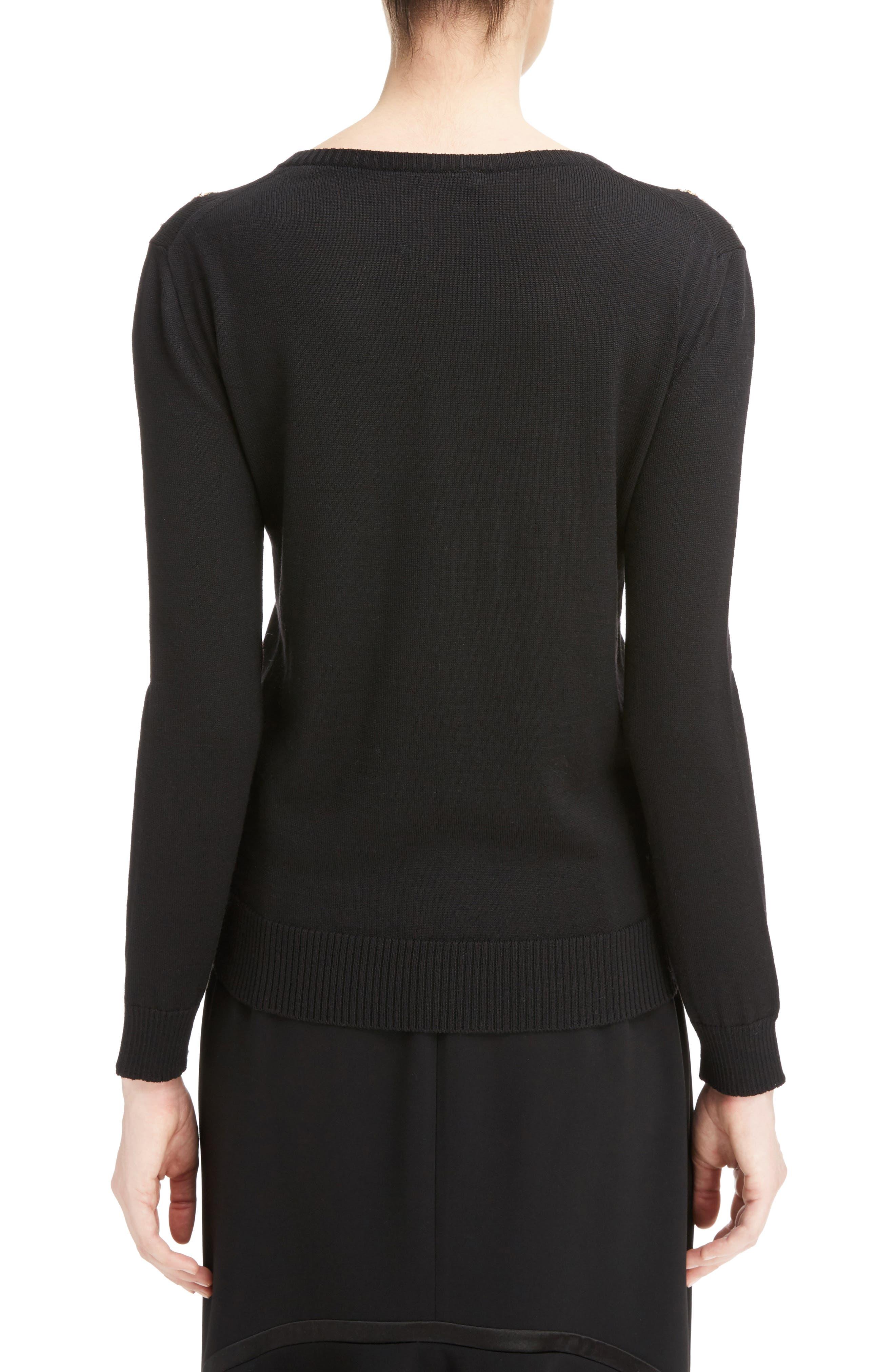 Piera Beaded Merino Wool Sweater,                             Alternate thumbnail 2, color,                             Black