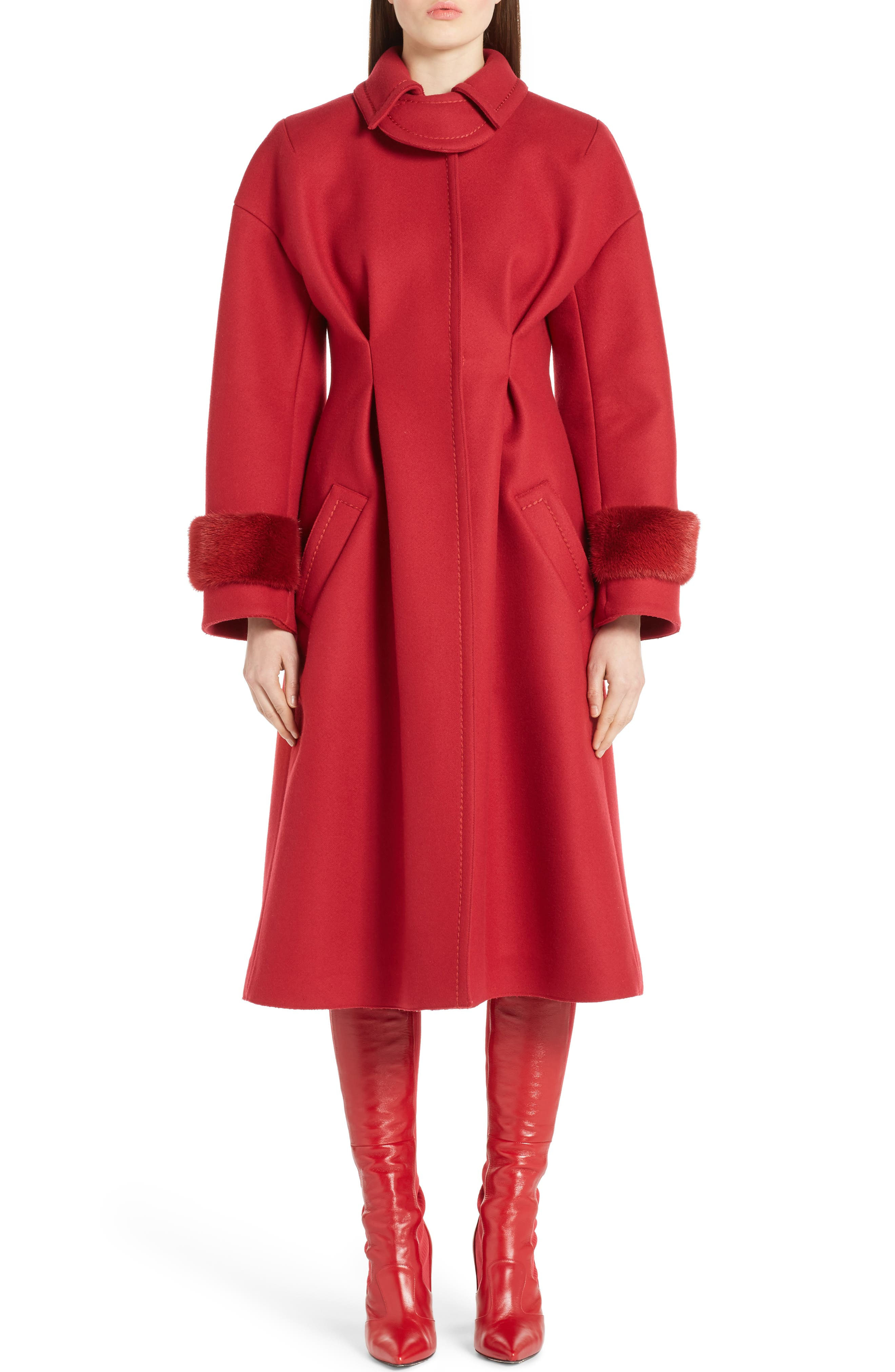 Wool & Cashmere Coat with Genuine Mink Cuffs,                             Main thumbnail 1, color,                             Red