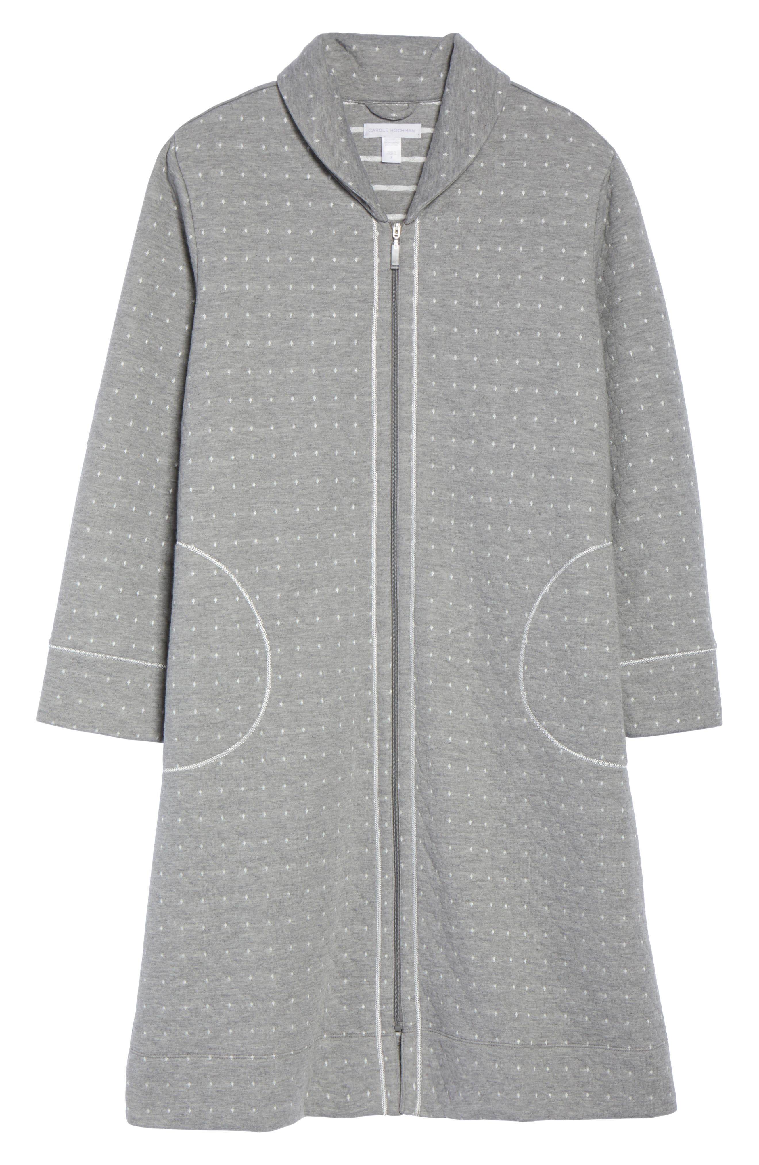 Long Zip Robe,                             Alternate thumbnail 5, color,                             Grey Heather