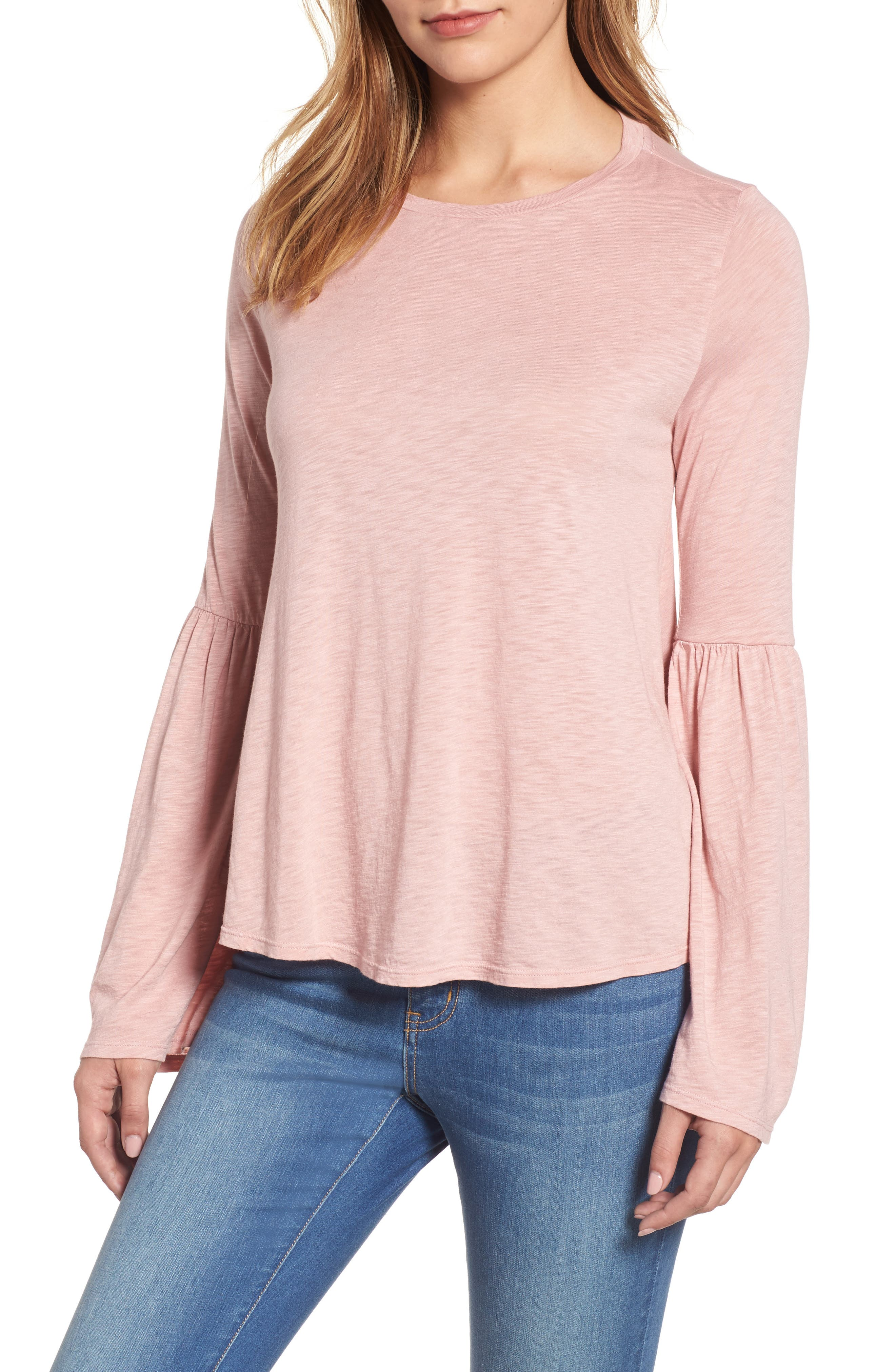 Bell Sleeve Slub Knit Top,                             Main thumbnail 1, color,                             Tulle