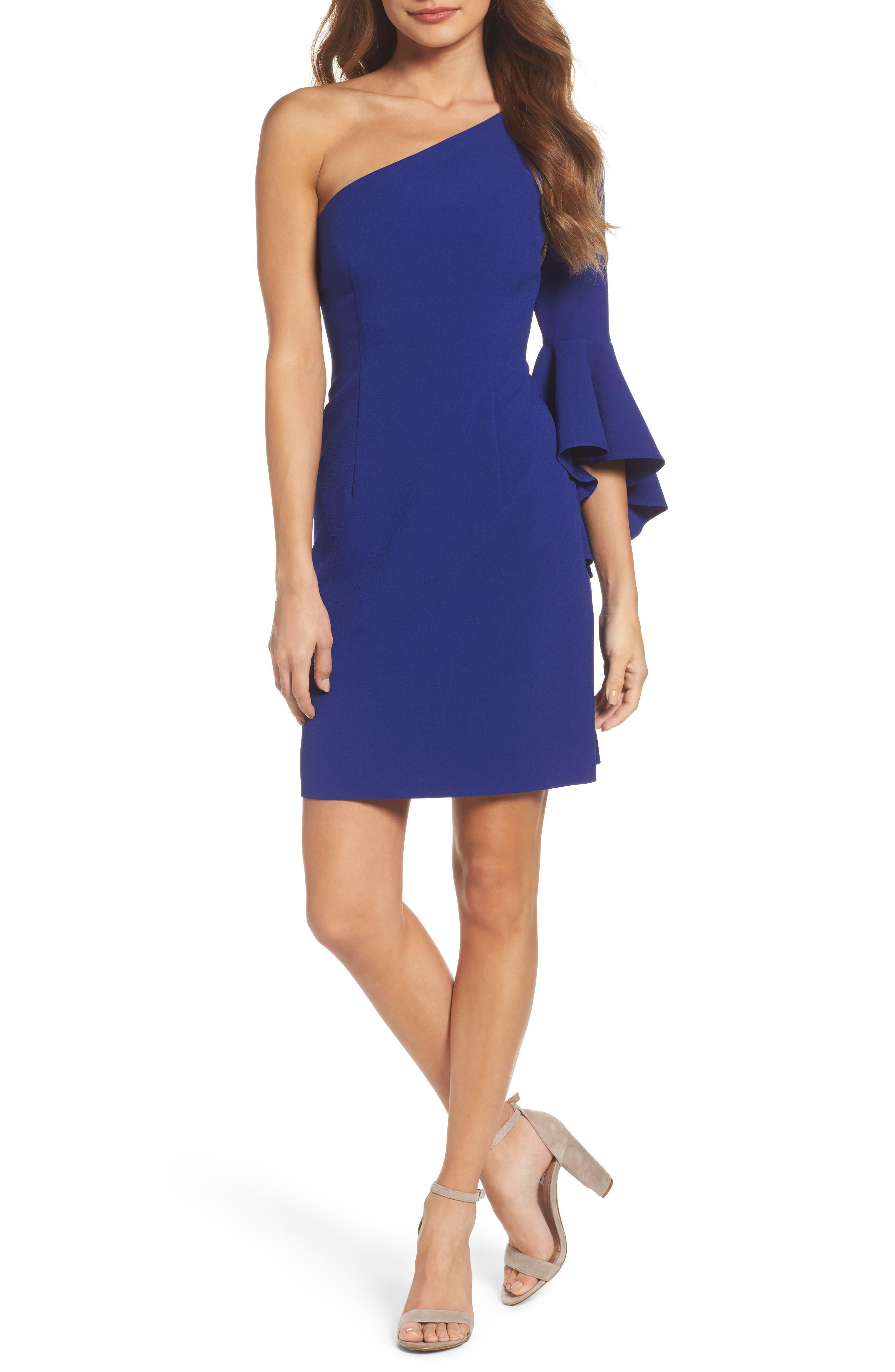 One-Shoulder Crepe Sheath Dress,                         Main,                         color, Blue Cobalt