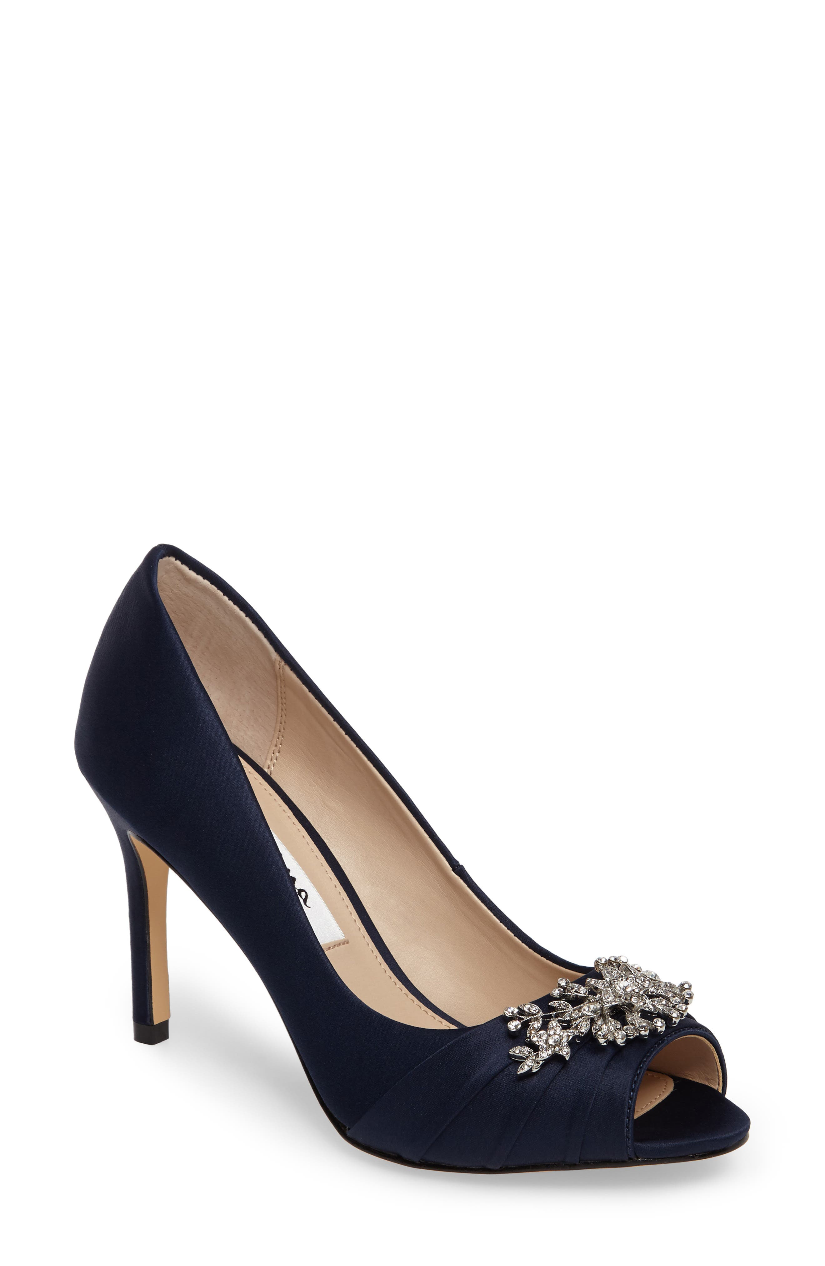Alternate Image 1 Selected - Nina Rumina Embellished Peep Toe Pump (Women)