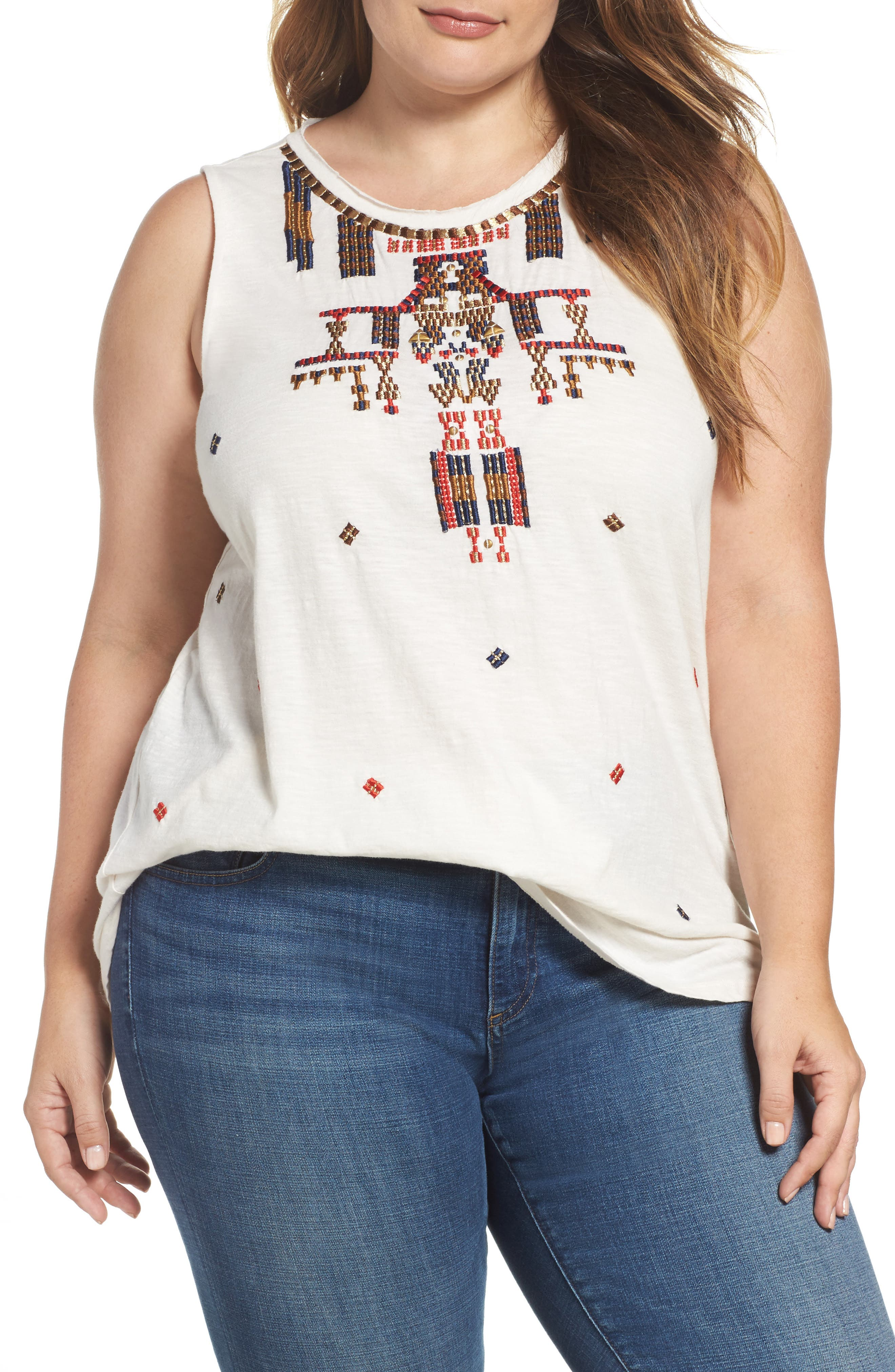 Lucky Brand Embellished Tank (Plus Size)