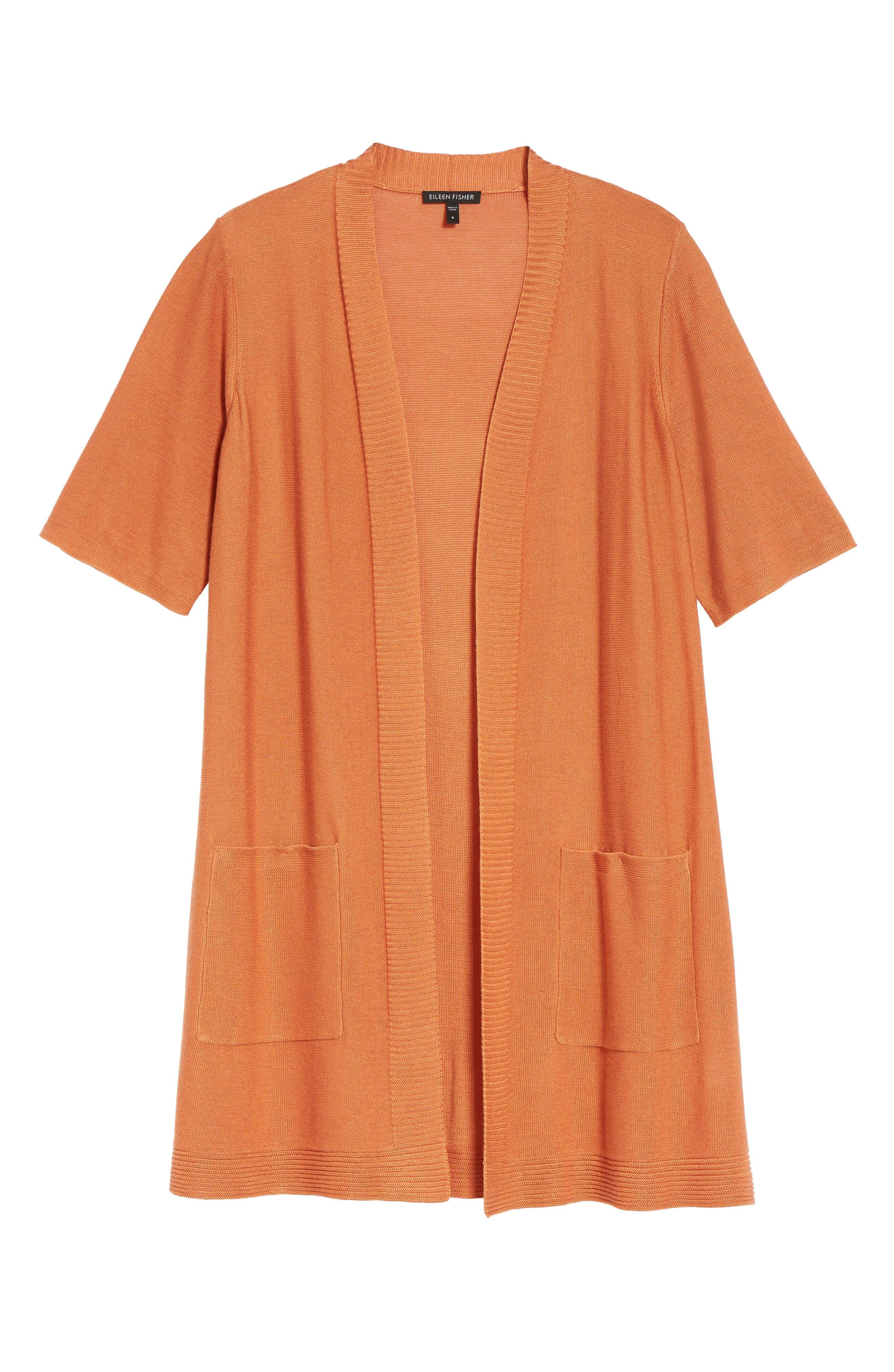 Simple Tencel<sup>®</sup> & Merino Wool Cardigan,                             Alternate thumbnail 6, color,                             Pumpkin