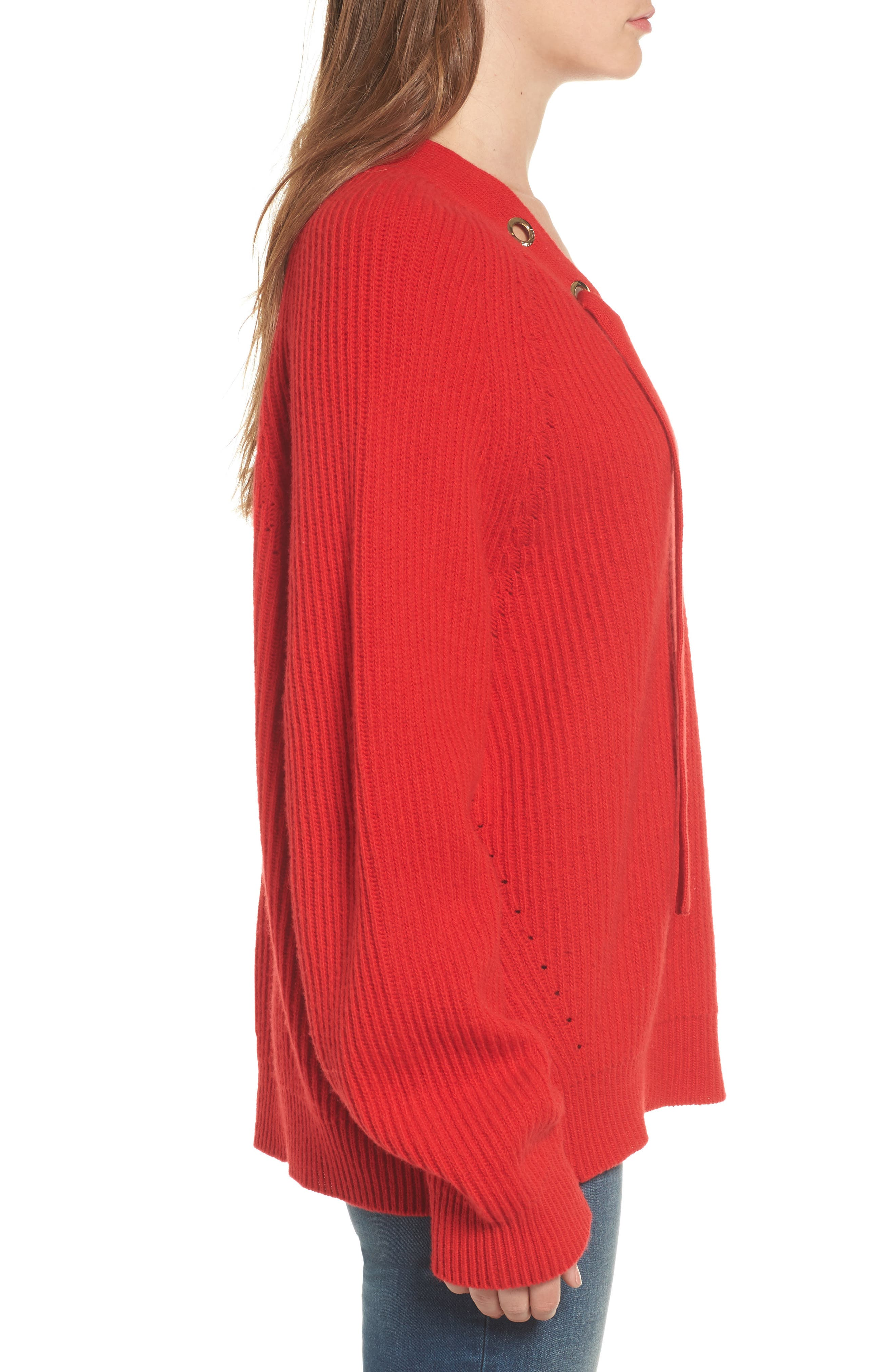 Kassy Wool Blend Sweater,                             Alternate thumbnail 3, color,                             Rouge
