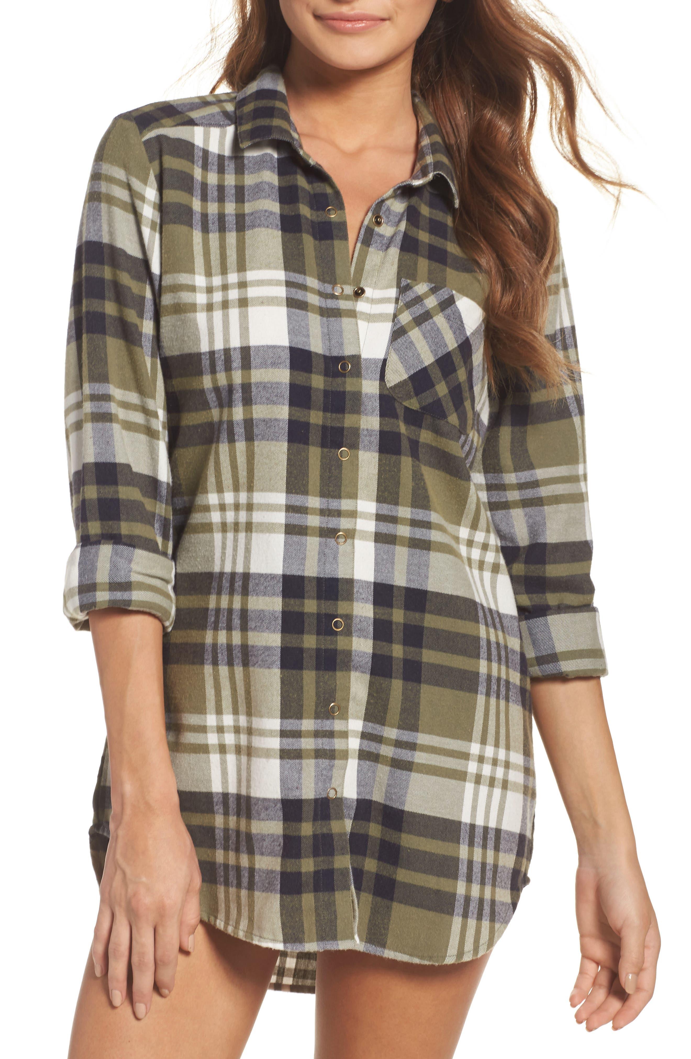 Main Image - Make + Model Plaid Cotton Blend Nightshirt